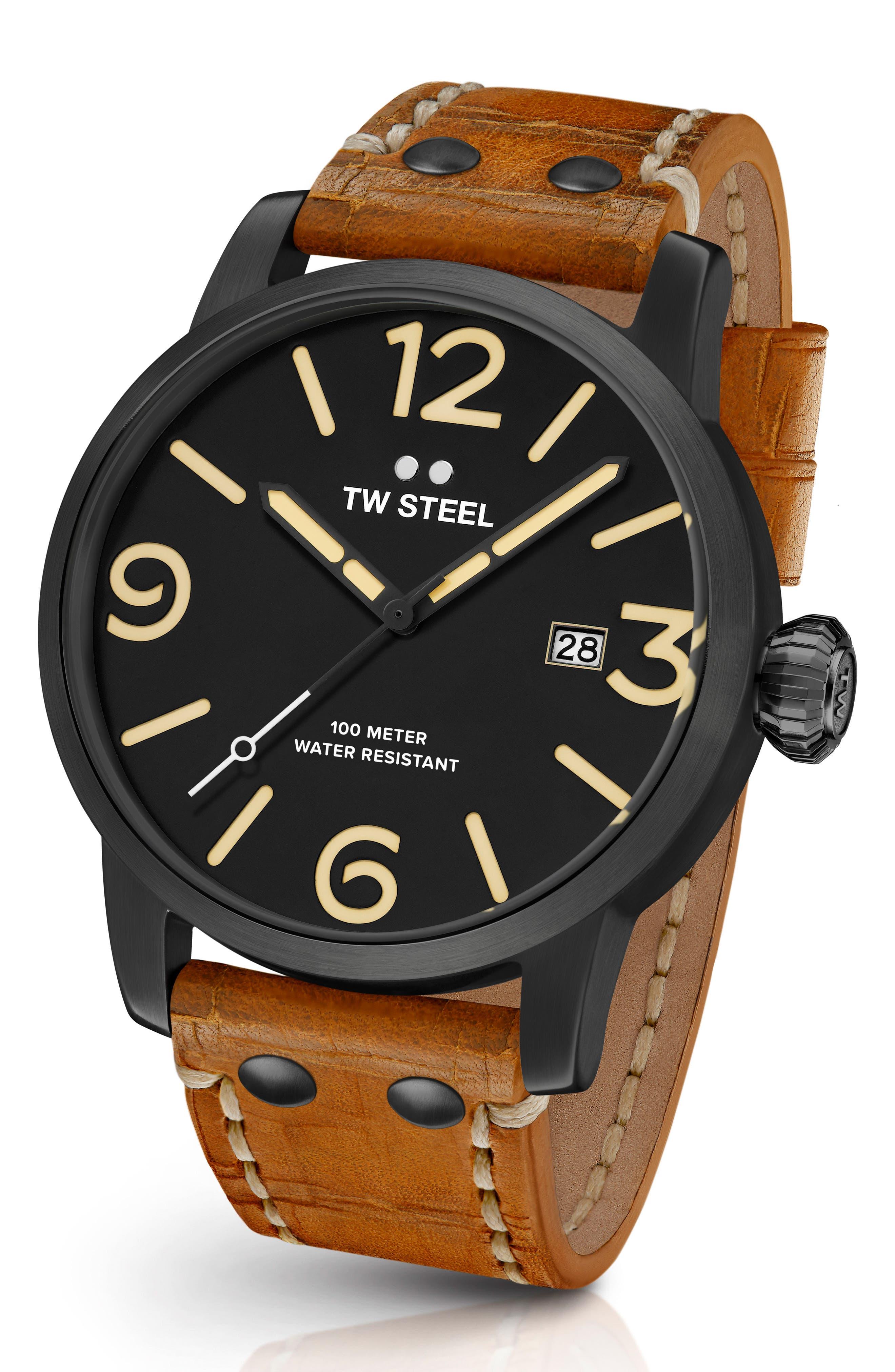Maverick Leather Strap Watch, 45mm,                         Main,                         color, Sienna/ Black