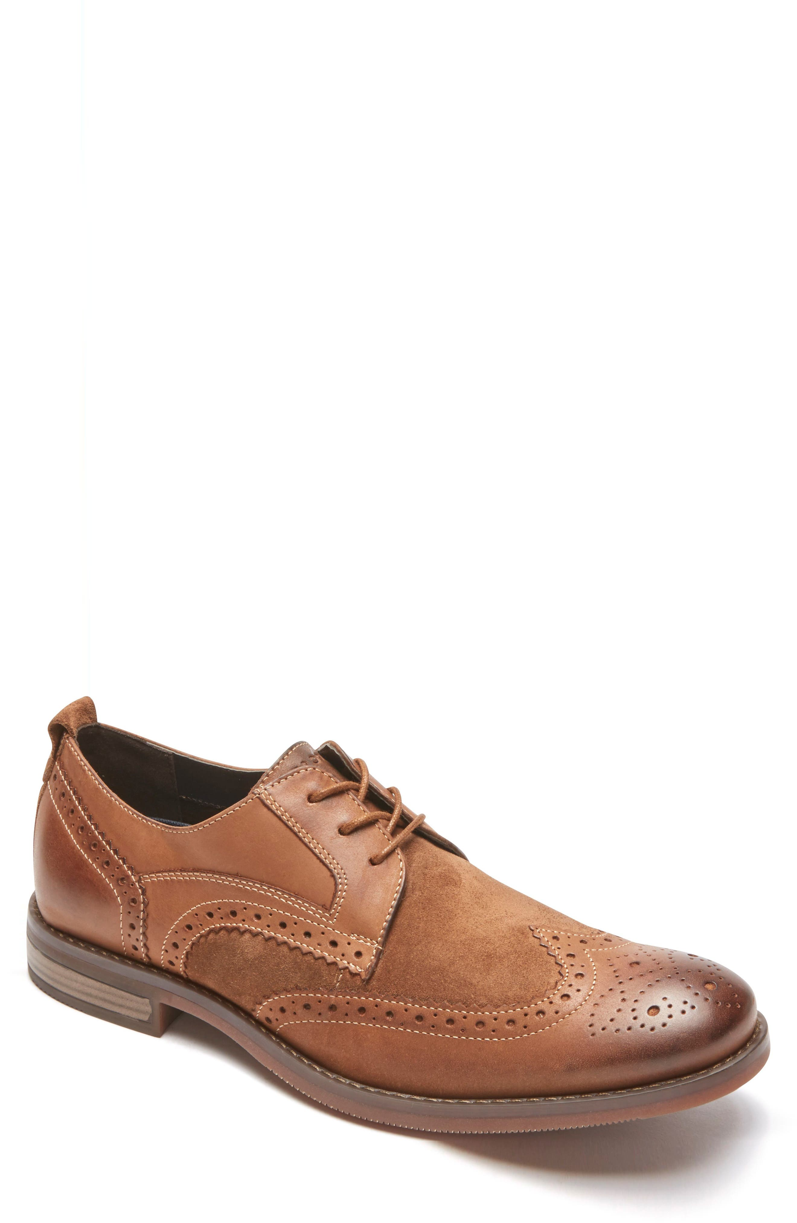 Wynstin Wingtip,                             Main thumbnail 1, color,                             Tobacco Leather/ Suede