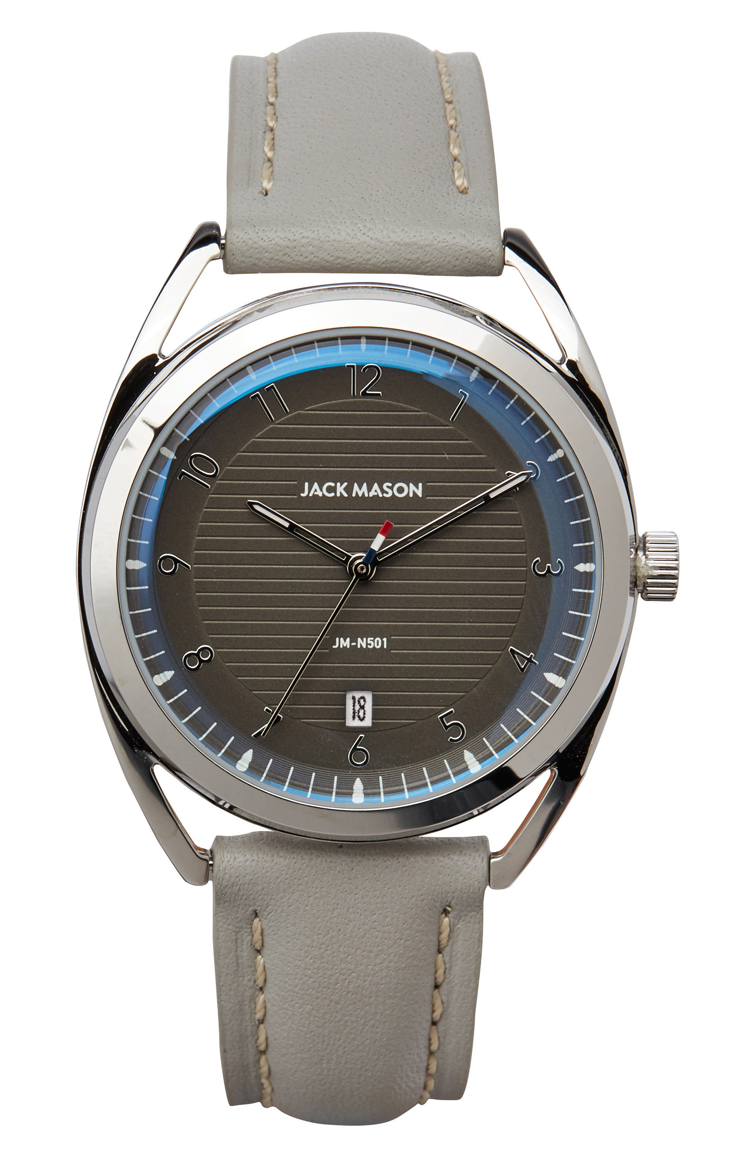 Deck Leather Strap Watch, 36mm,                         Main,                         color, Plaster/ Grey/ Silver