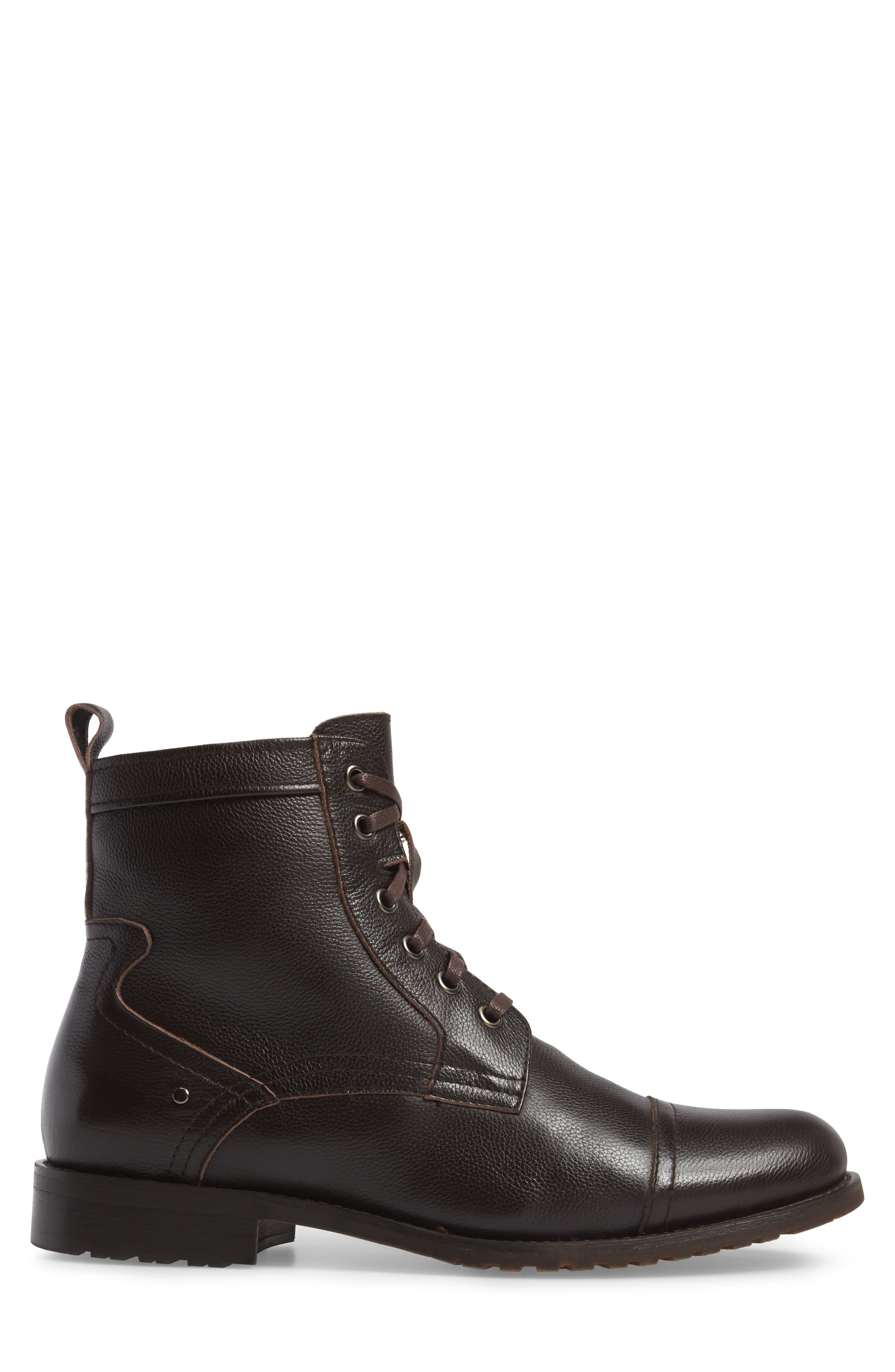 Cap Toe Boot,                             Alternate thumbnail 3, color,                             Brown Leather