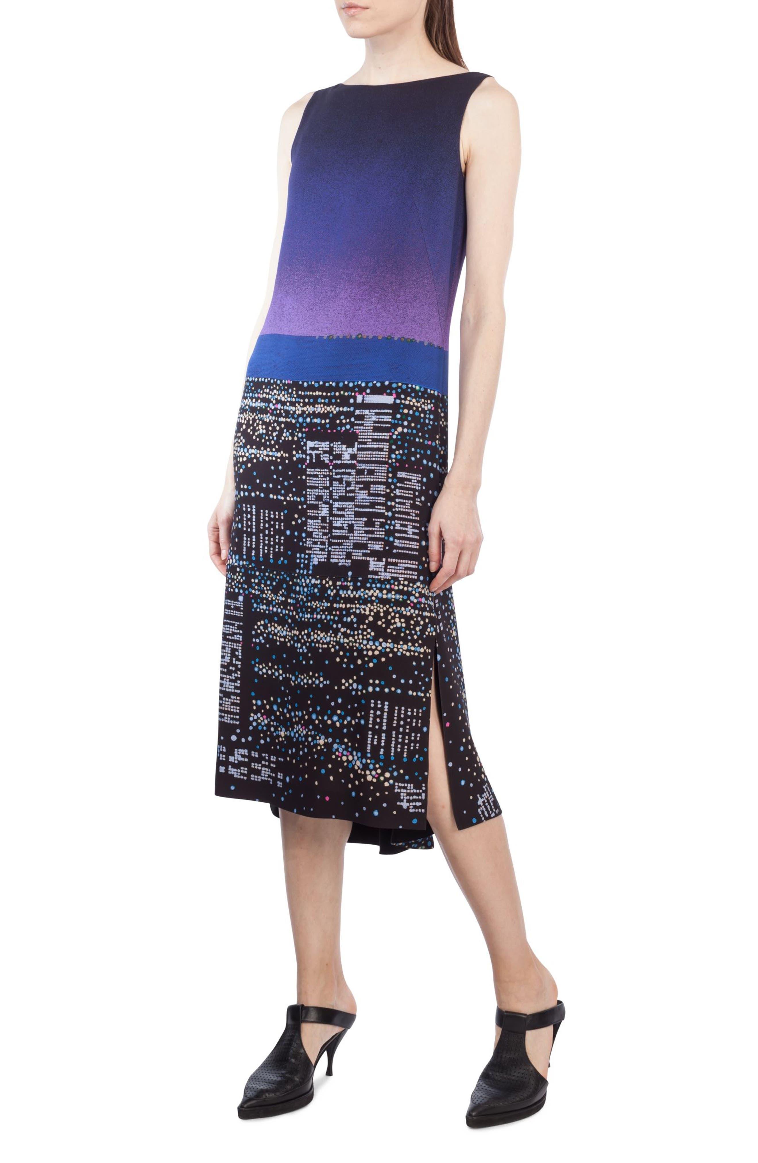 Main Image - Akris punto Twilight Print Midi Dress