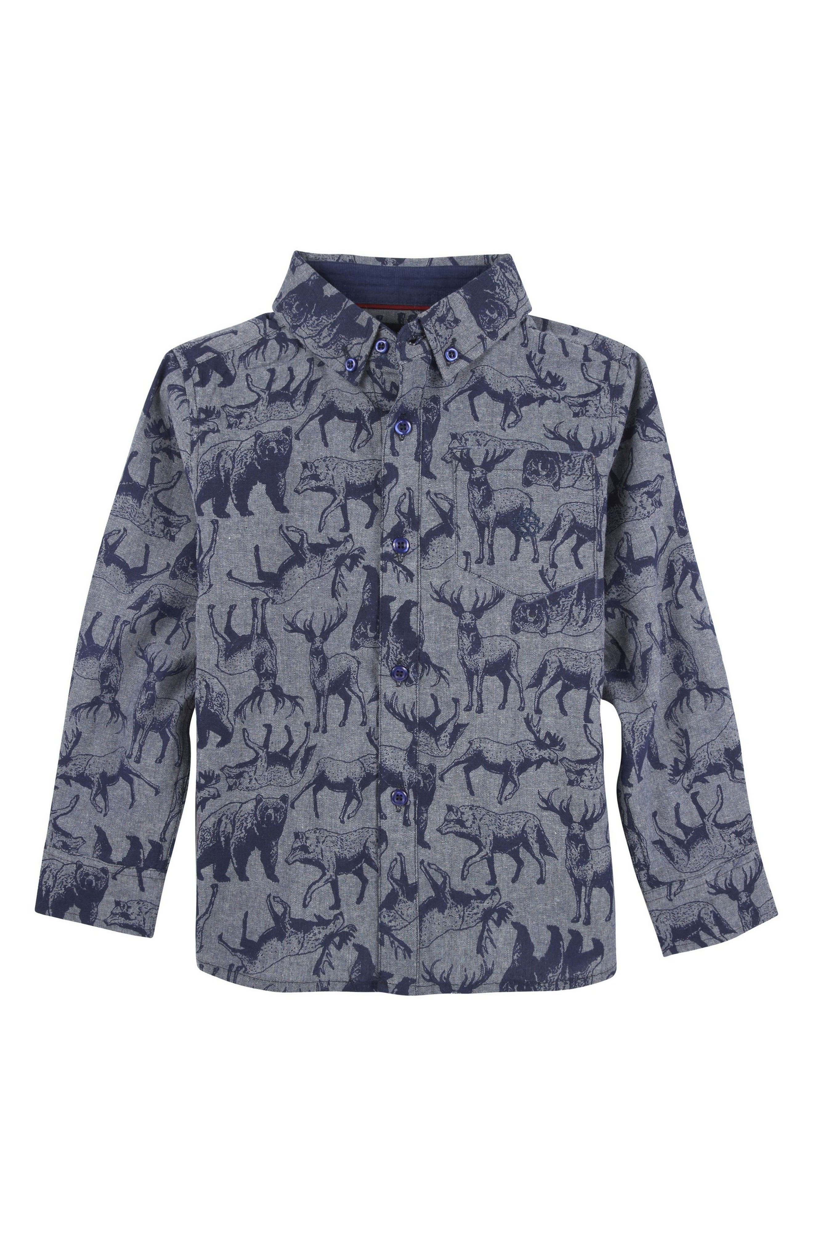 Animal Print Woven Shirt,                             Main thumbnail 1, color,                             Blue