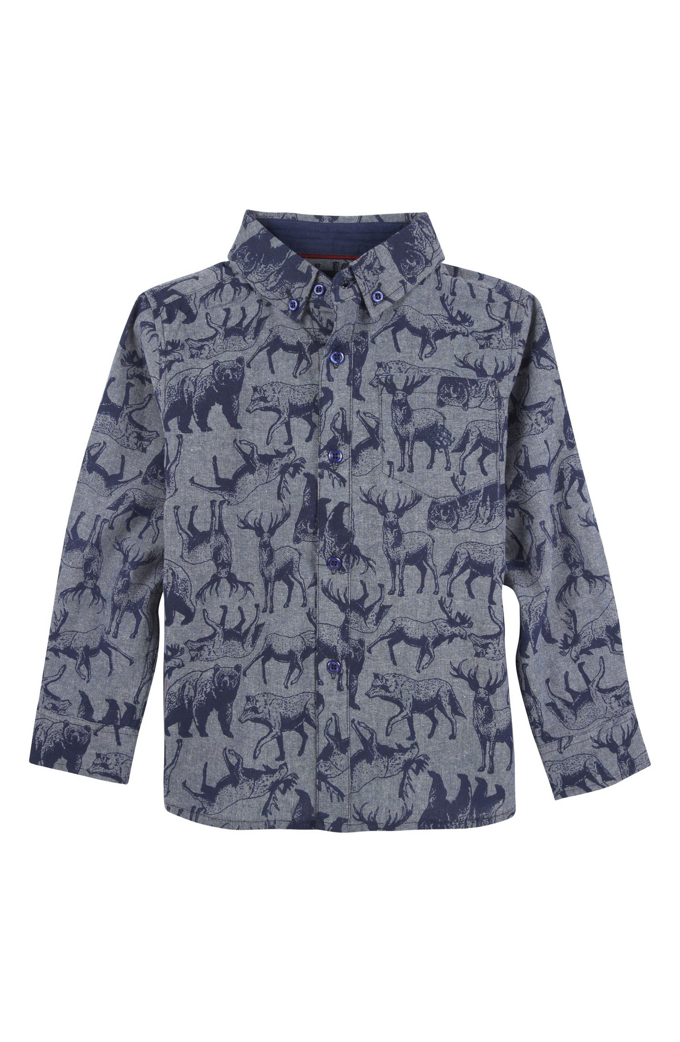 Animal Print Woven Shirt,                         Main,                         color, Blue