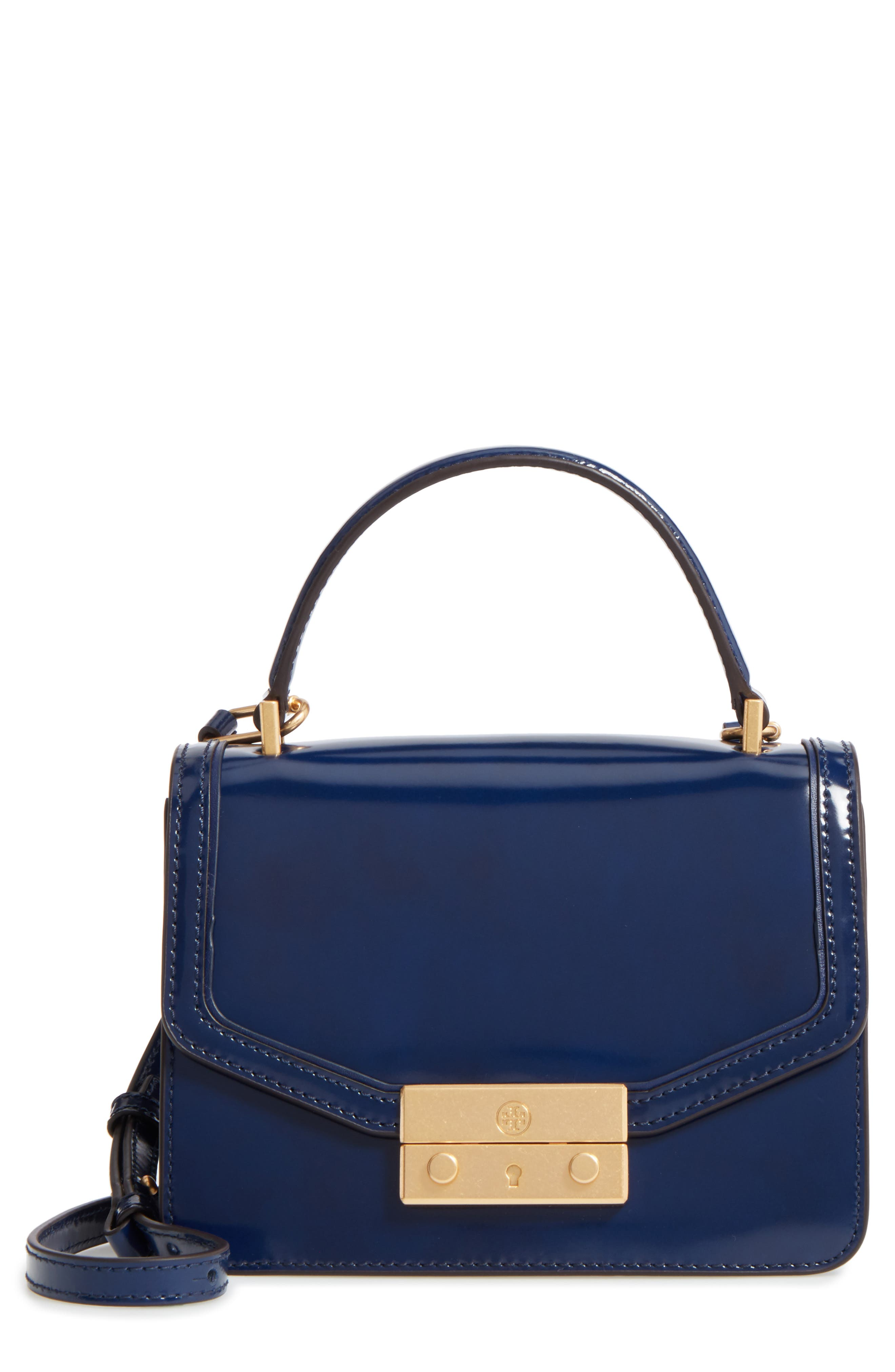 Mini Juliette Leather Top Handle Satchel,                         Main,                         color, Royal Navy