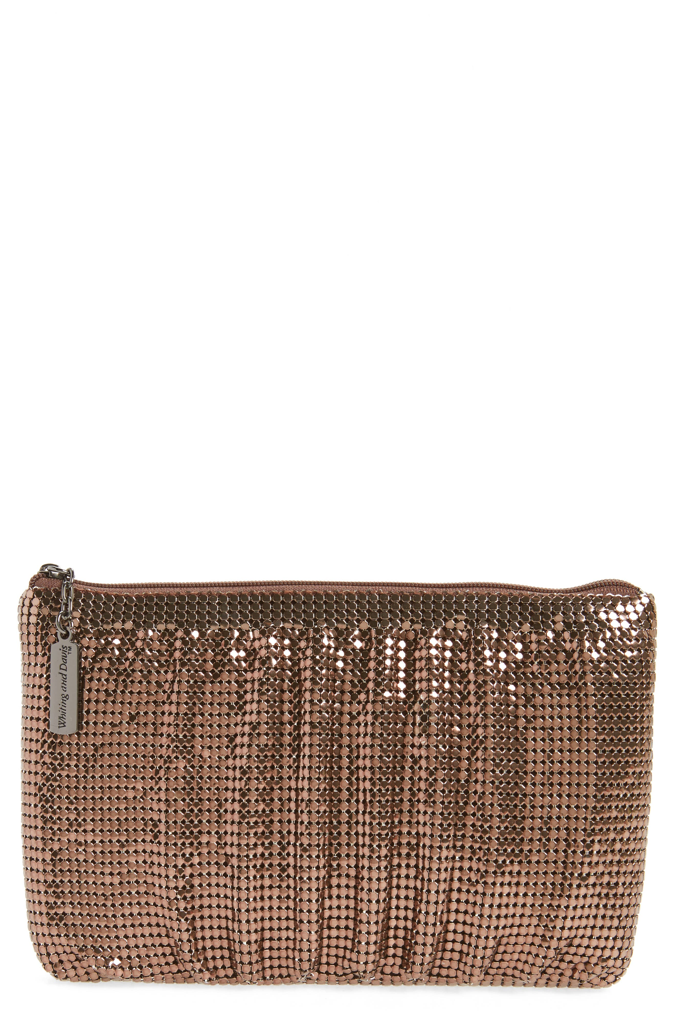 Shirred Mesh Pouch Clutch,                         Main,                         color, Bronze