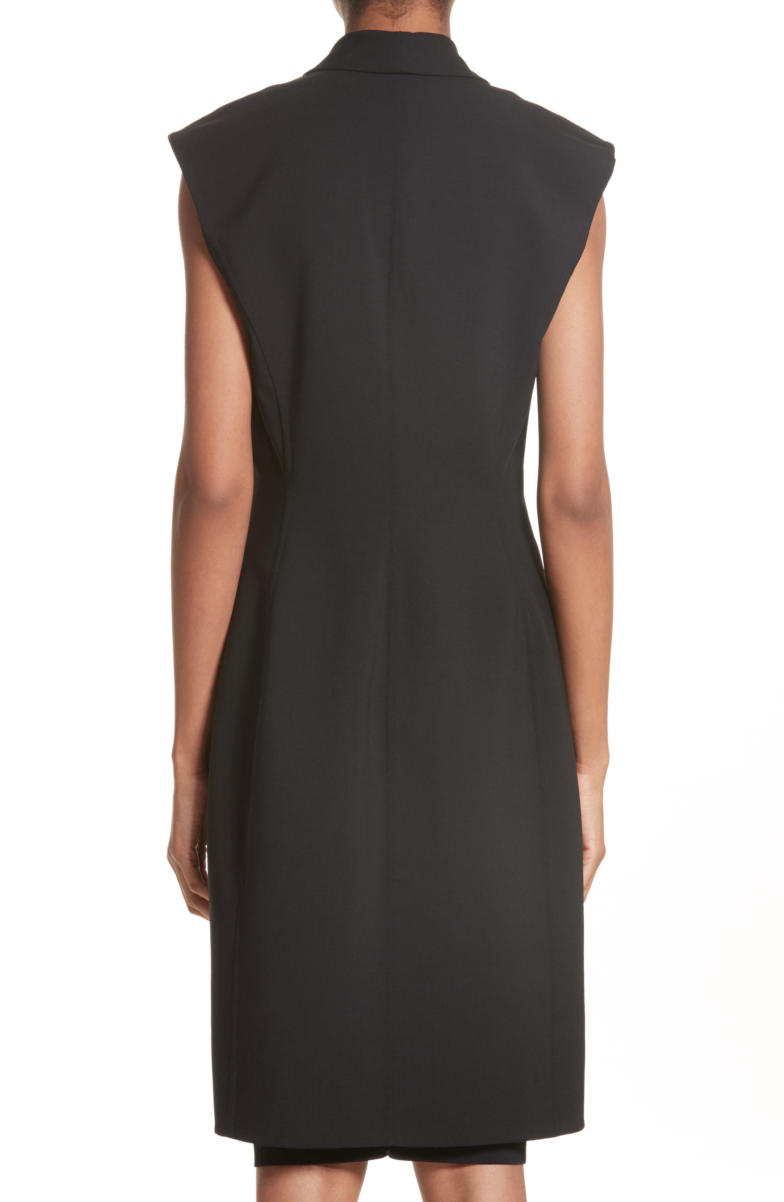 Hook Detail Stretch Wool Long Vest,                             Alternate thumbnail 2, color,                             Black/ Black