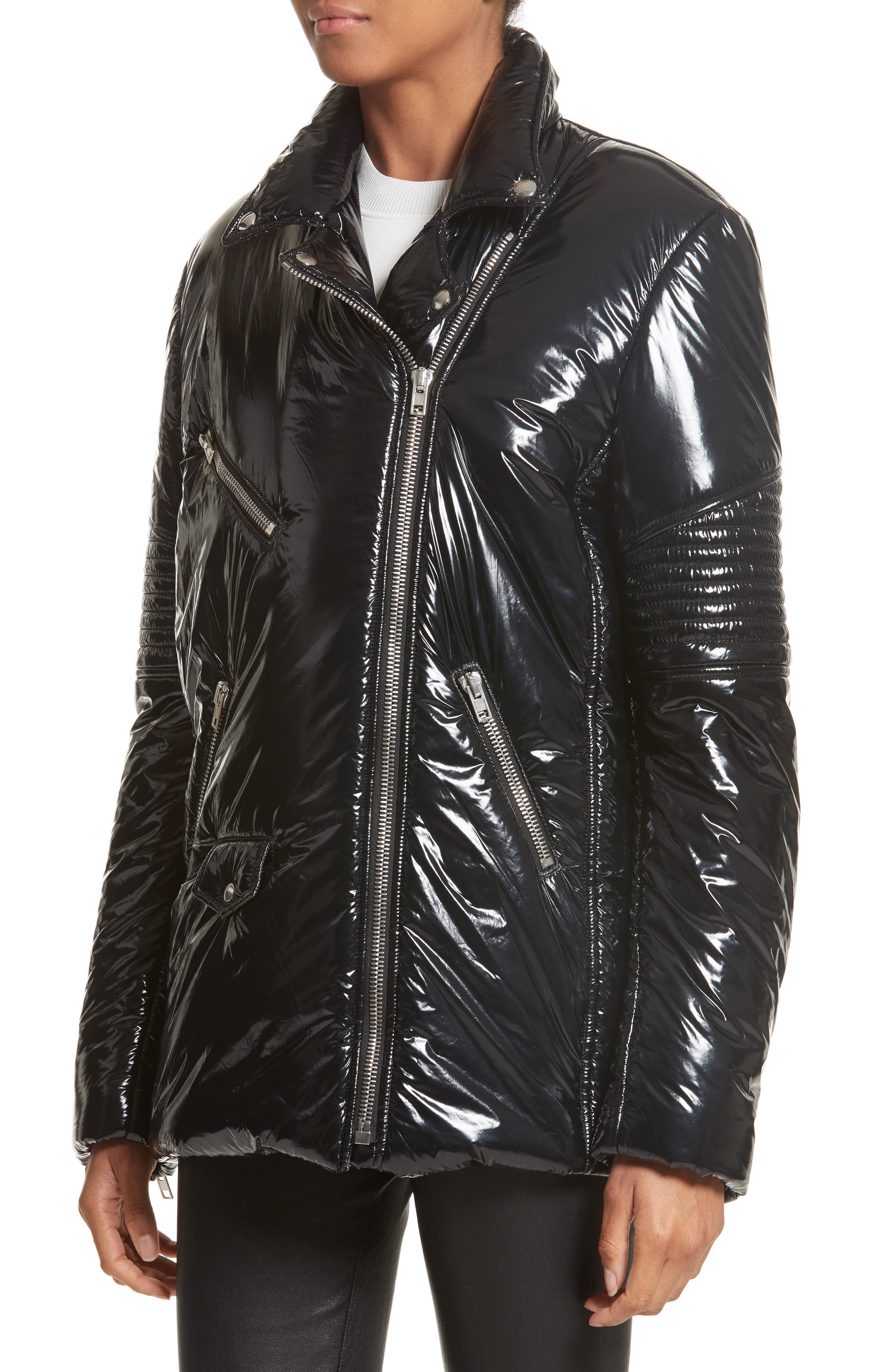 Moto Puffer Jacket,                             Alternate thumbnail 3, color,                             Black/ Black
