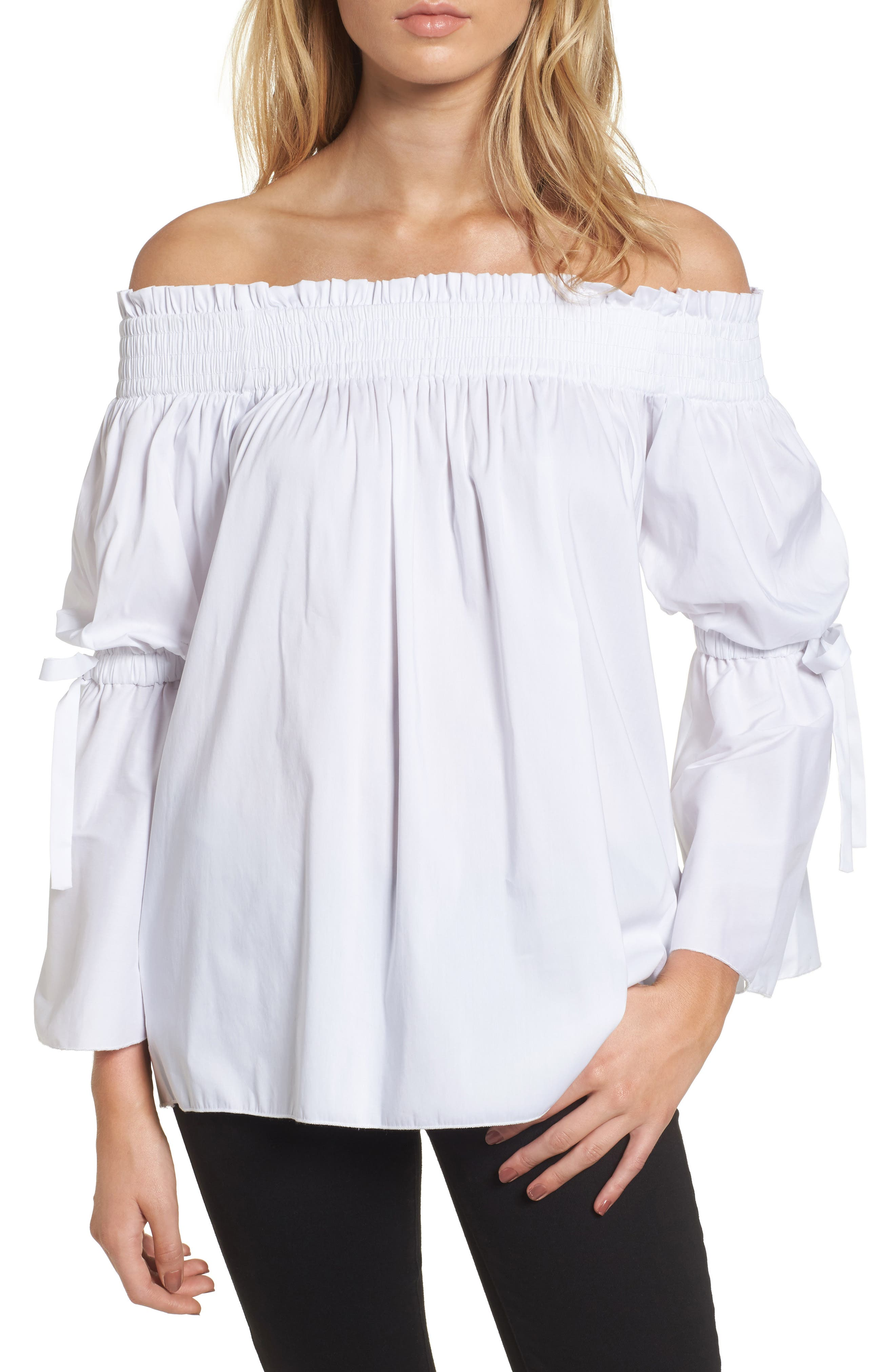 Ominous Stranger Off the Shoulder Top,                             Main thumbnail 1, color,                             White