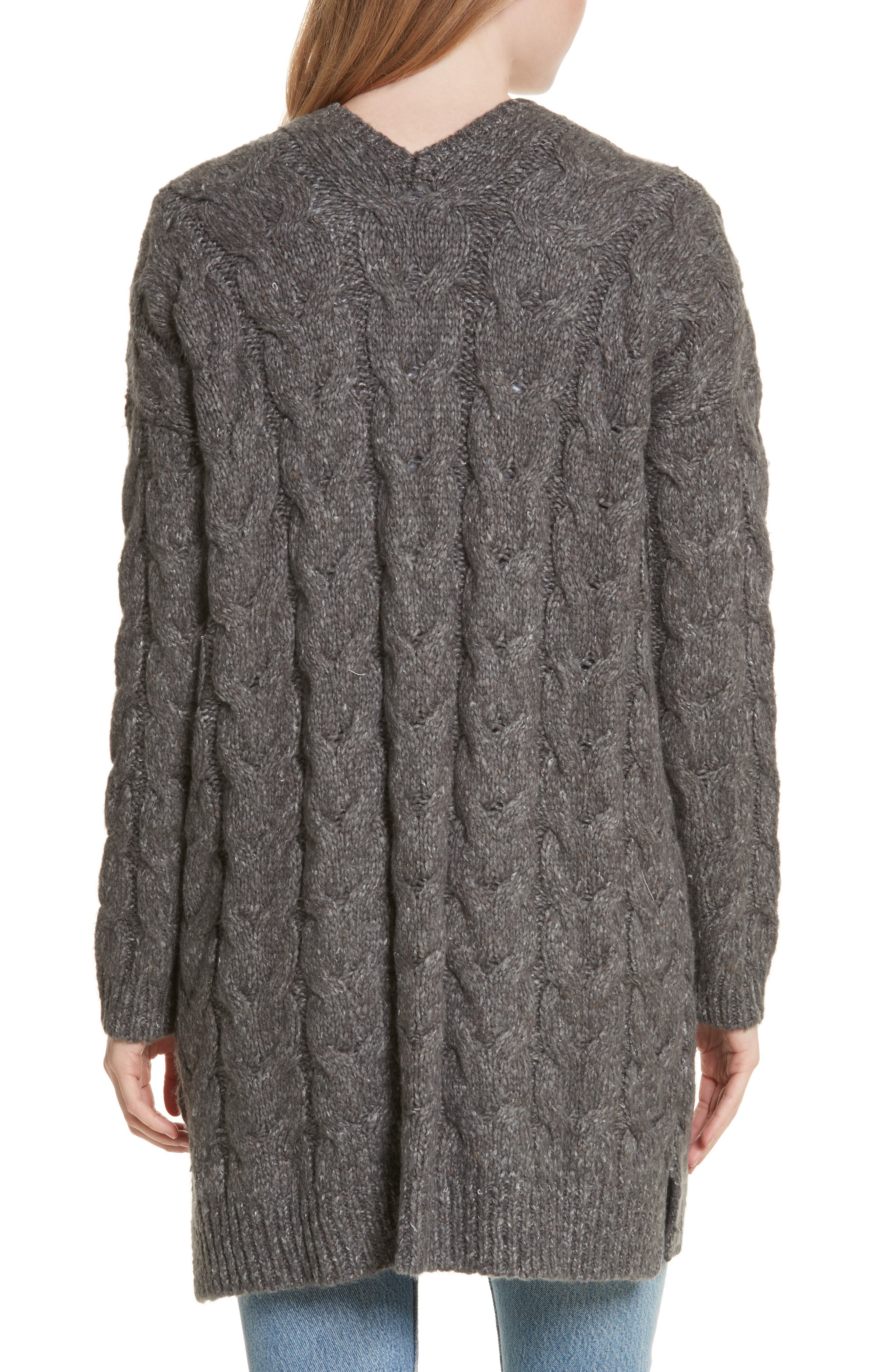 Tienna Cable-Knit Cardigan,                             Alternate thumbnail 2, color,                             Dark Heather Grey