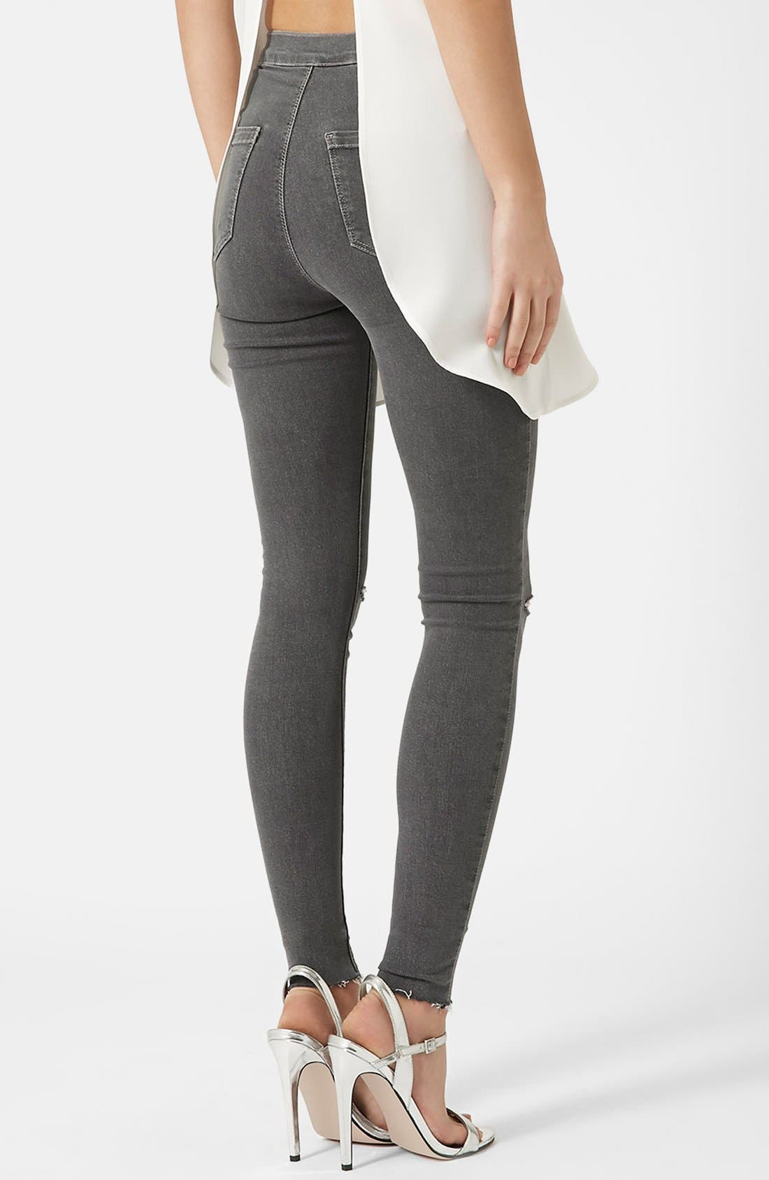 Alternate Image 2  - Topshop Moto 'Joni' Ripped Skinny Jeans (Grey) Regular and Short