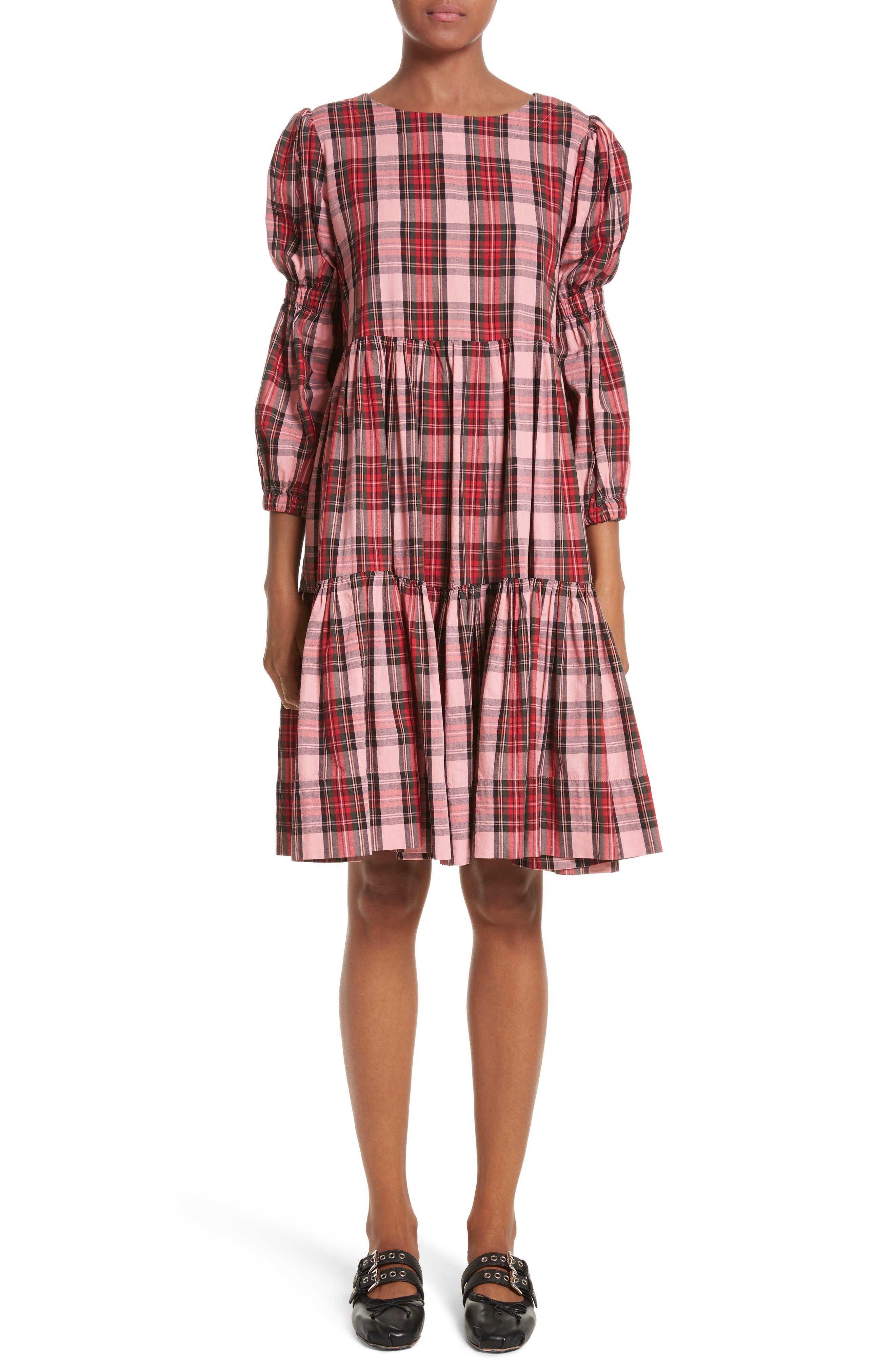 Martha Tartan Dress,                         Main,                         color, Pink