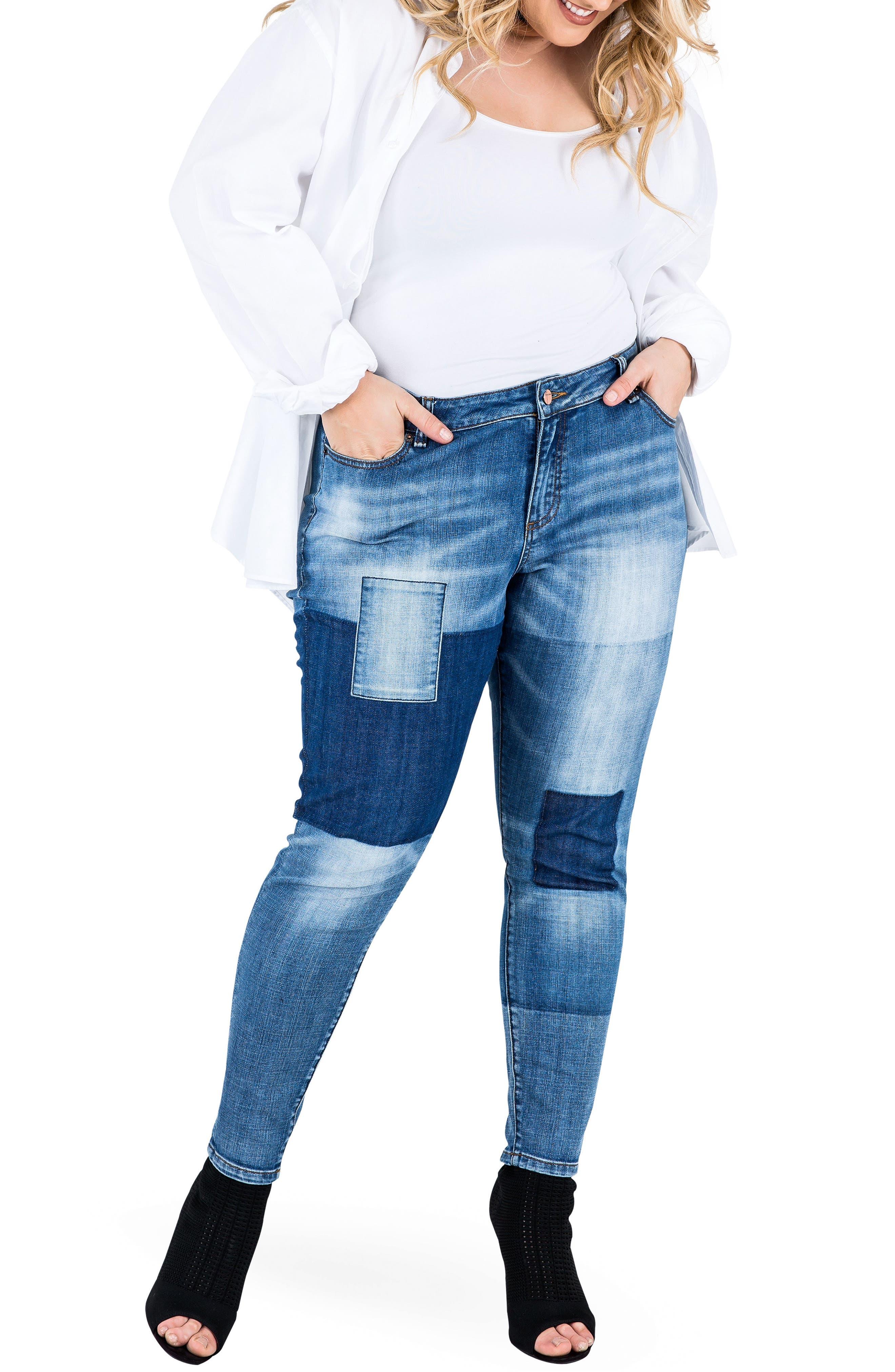 Alternate Image 2  - Standards & Practices Isabel Colorblock Skinny Jeans (Plus Size)