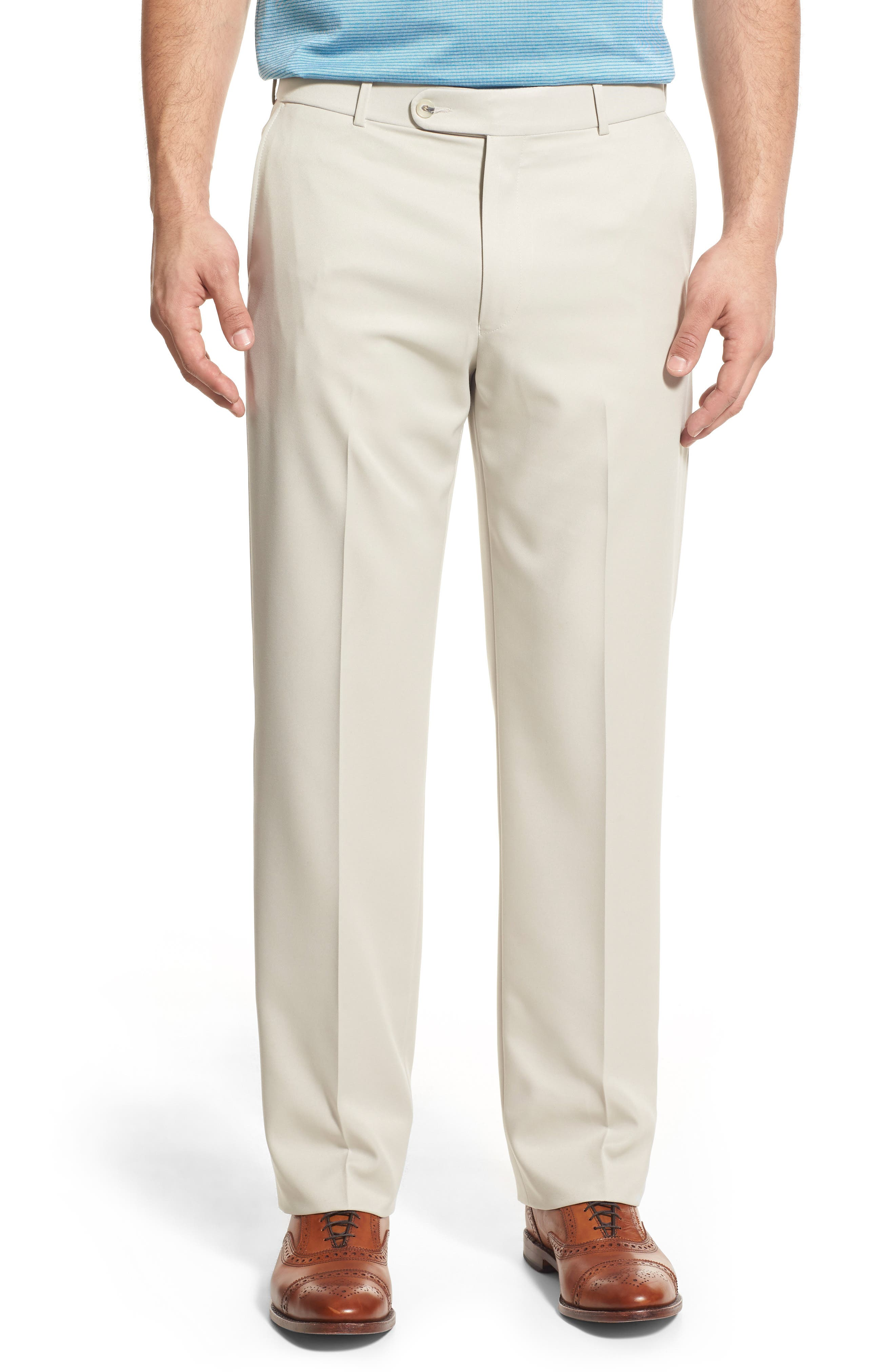 Regular Fit Flat Front Trousers,                             Main thumbnail 1, color,                             Cream