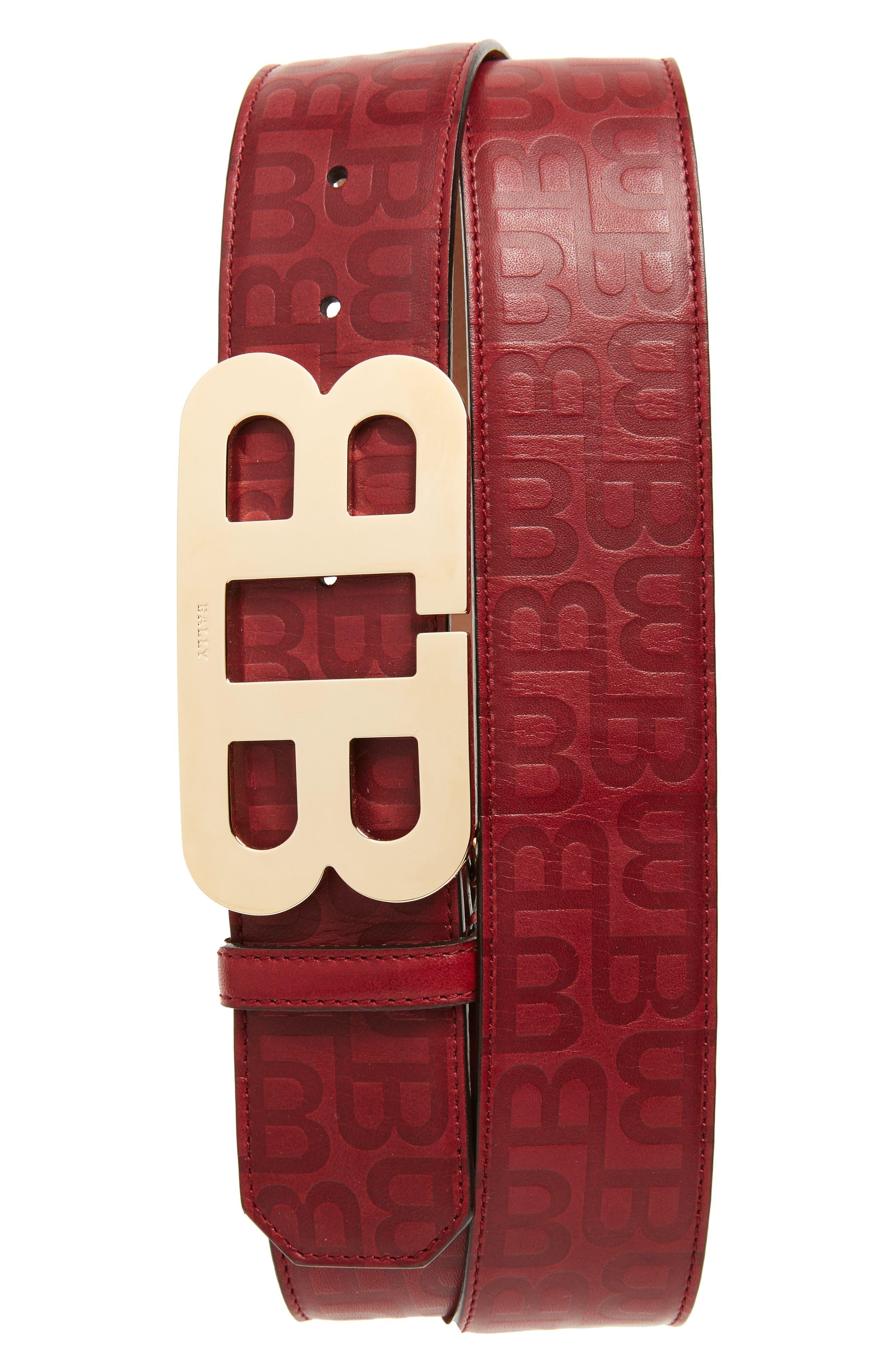 Stamped Logo Leather Belt,                         Main,                         color, Dark Red