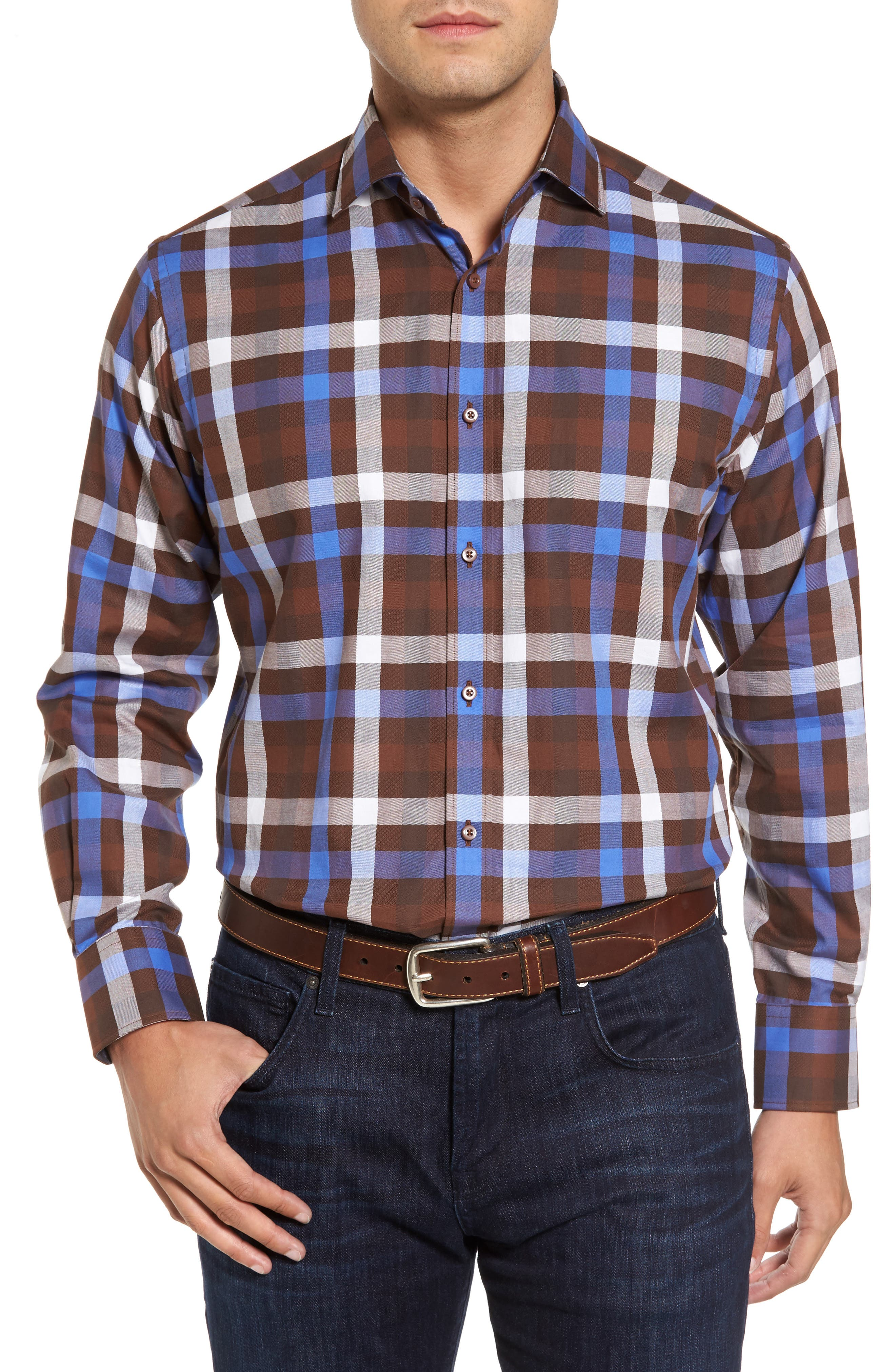 Regular Fit Dobby Check Sport Shirt,                         Main,                         color, Brown