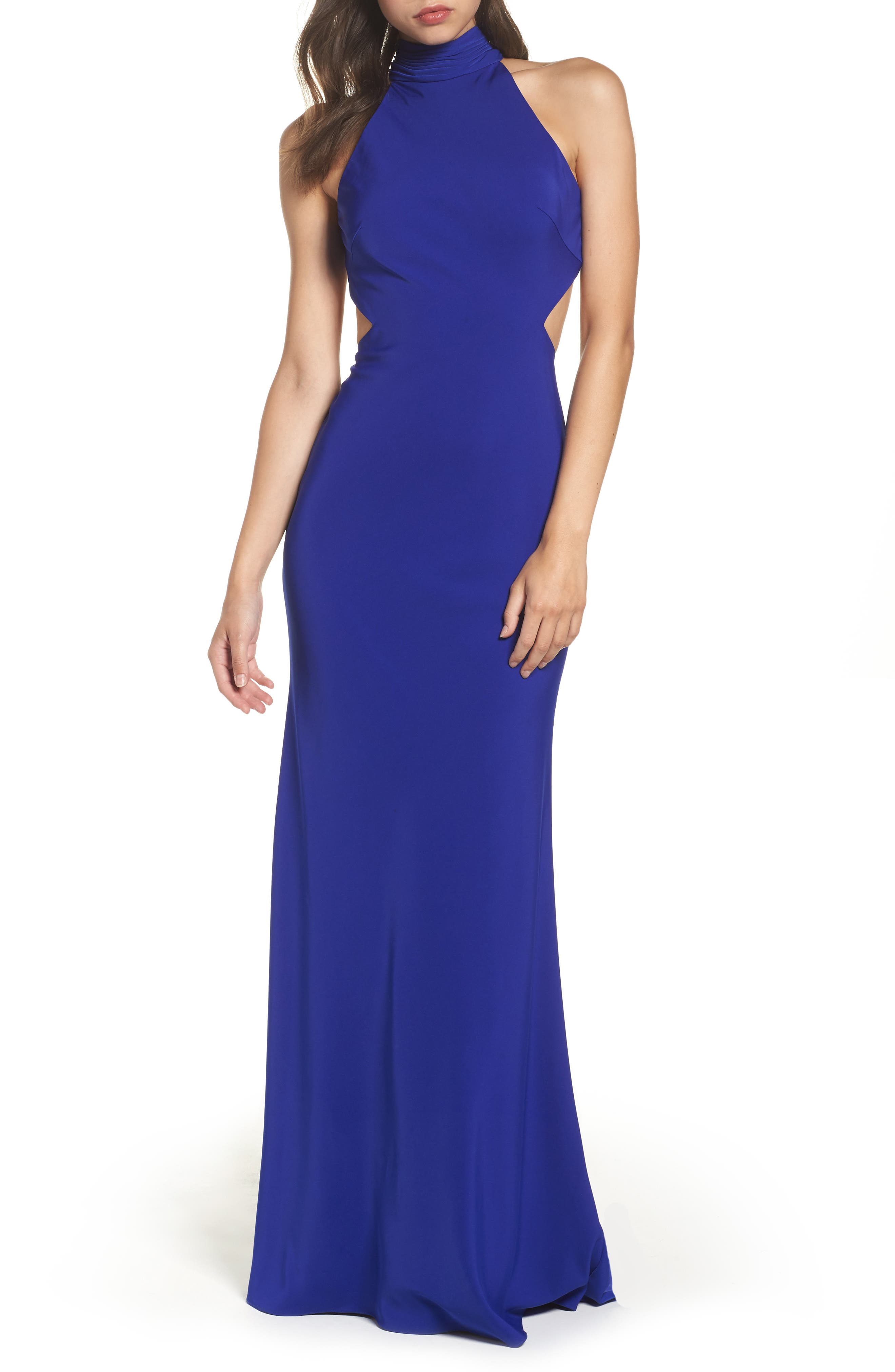 Alternate Image 1 Selected - Mac Duggal Open Back Halter Gown