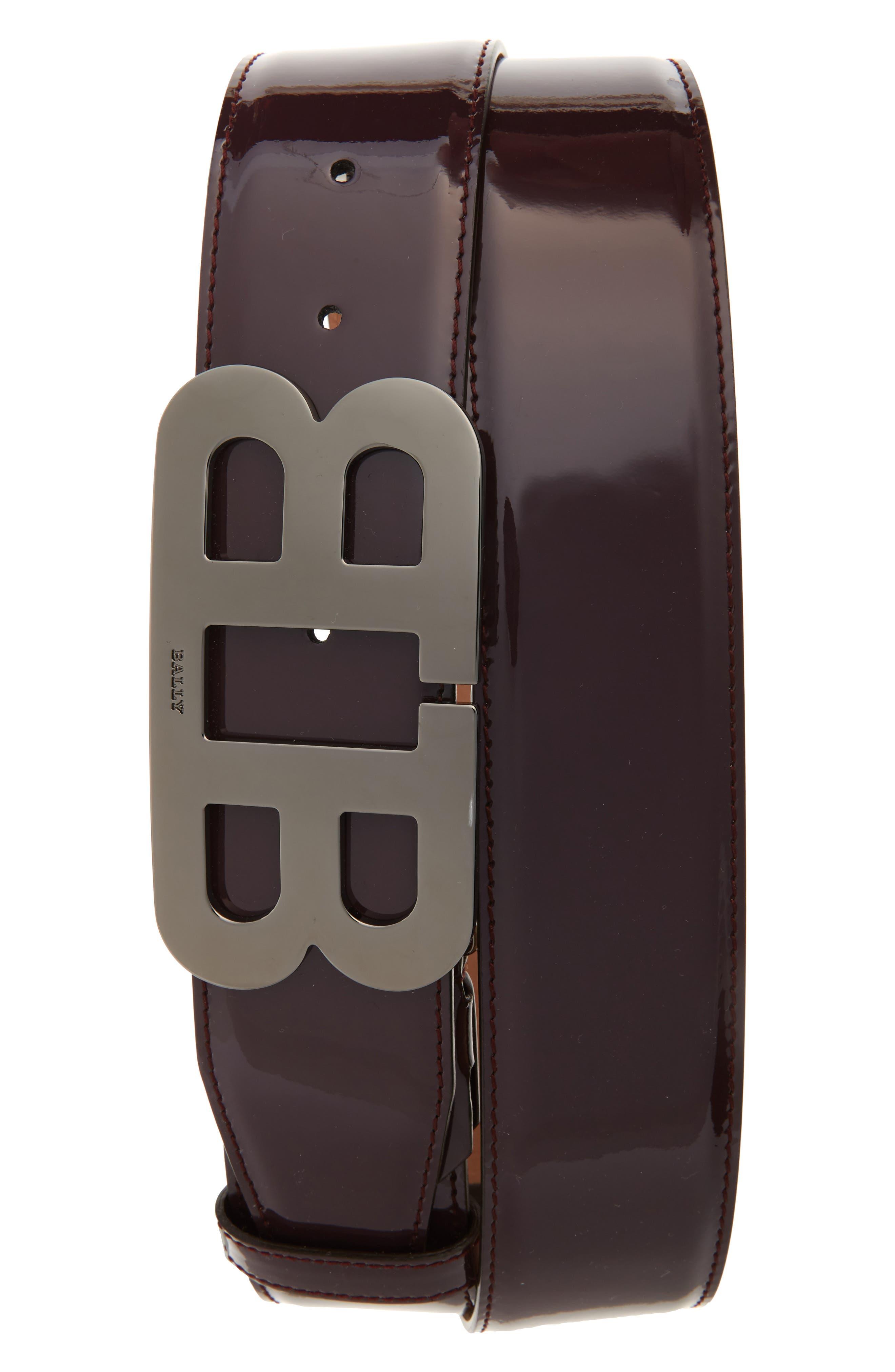 Mirror Buckle Leather Belt,                         Main,                         color, Merlot