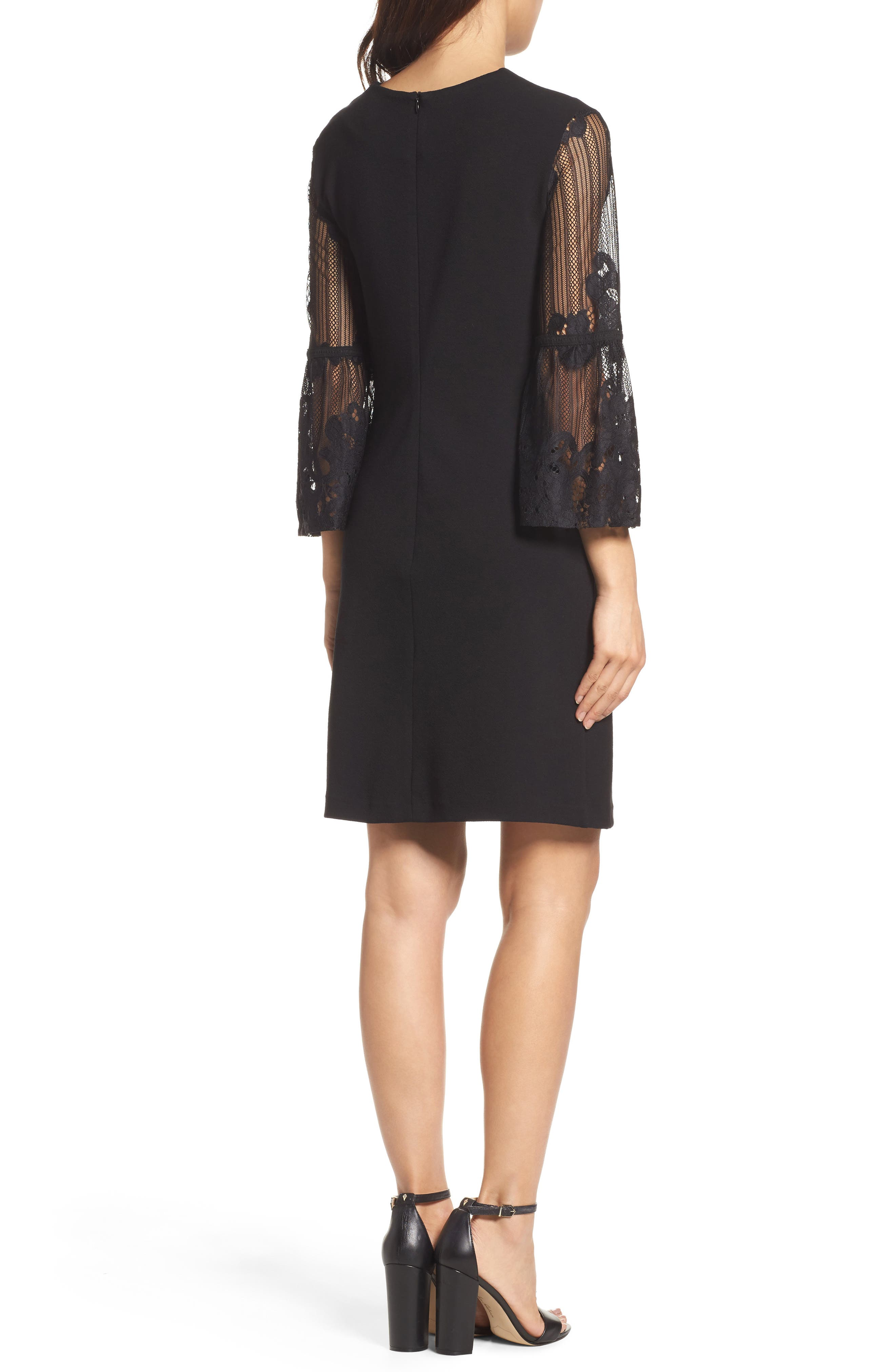 Lace Bell Sleeve Shift Dress,                             Alternate thumbnail 2, color,                             Black