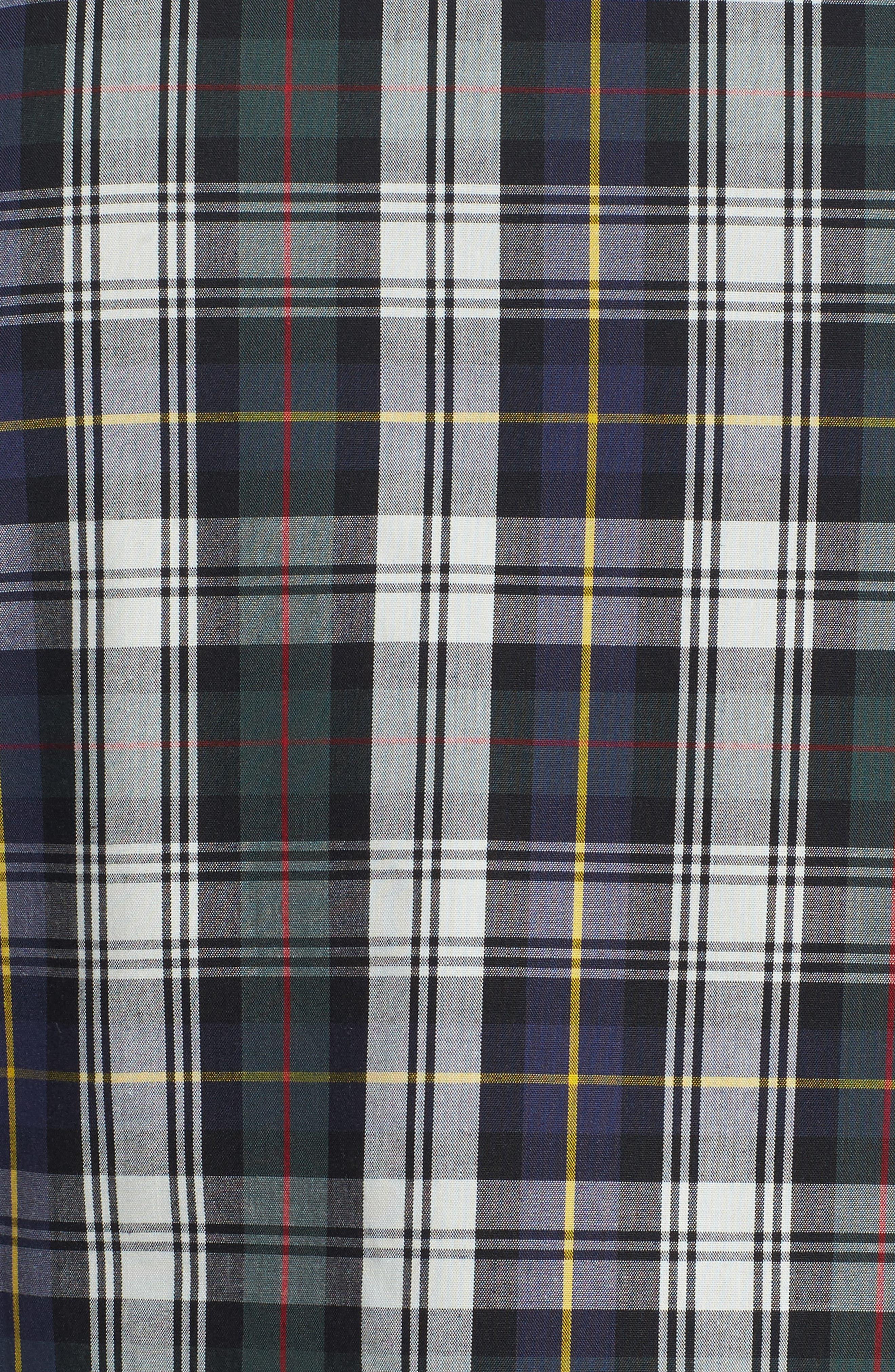 Trim Fit Non-Iron Plaid Sport Shirt,                             Alternate thumbnail 5, color,                             Ivory Egret Green Tartan