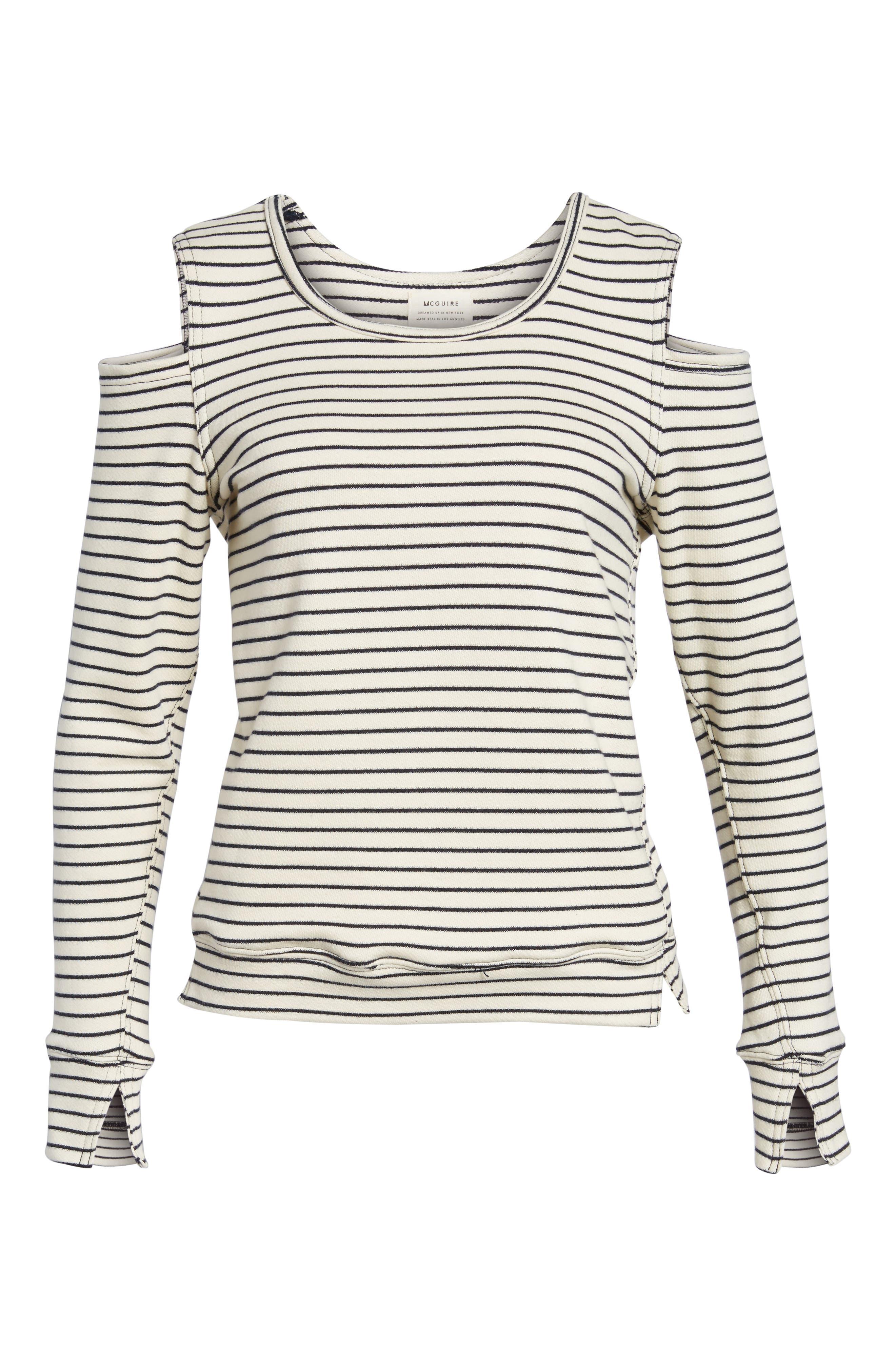 Wildair Cold Shoulder Sweatshirt,                             Alternate thumbnail 6, color,                             Ski Stripe