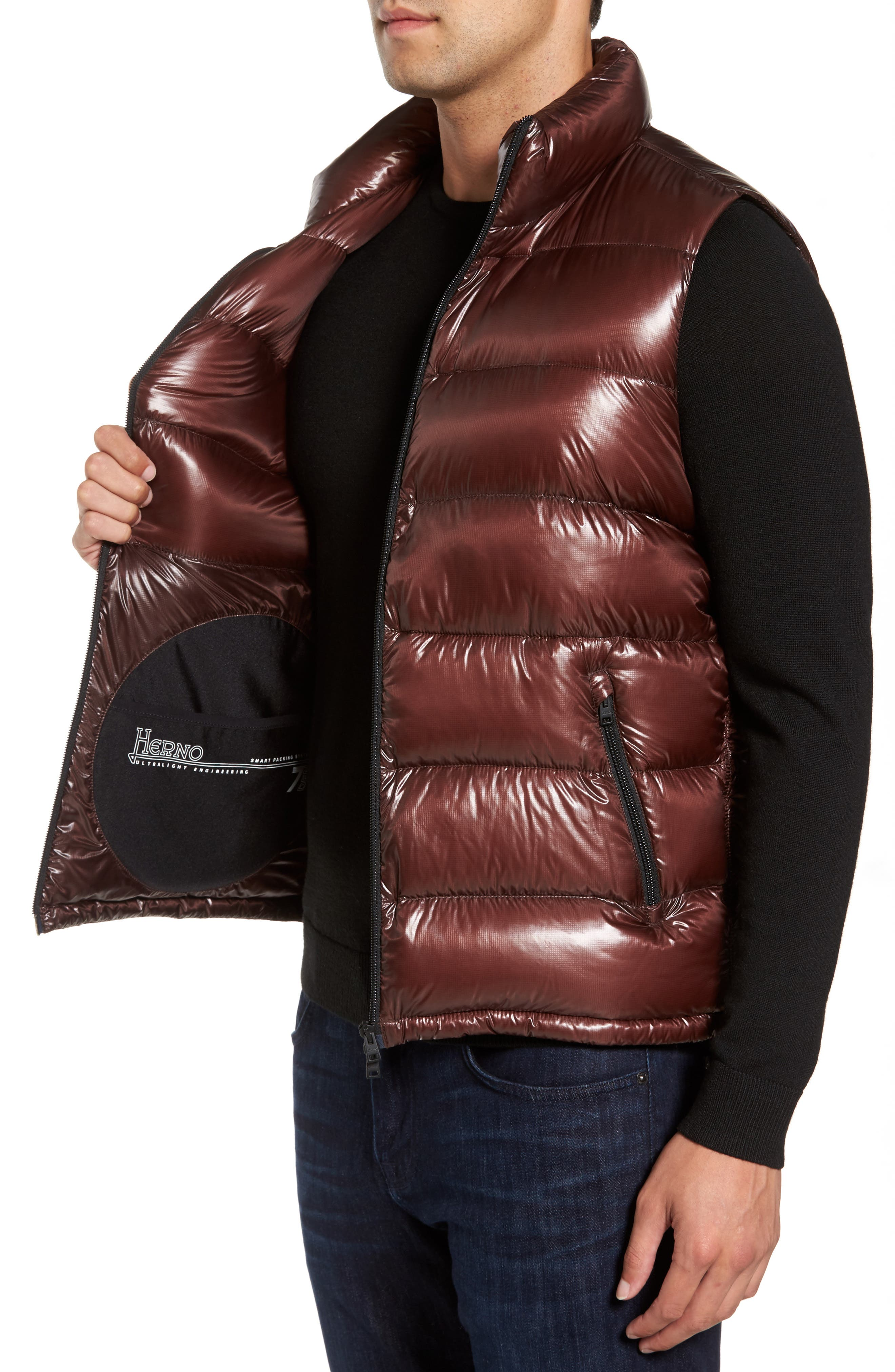 Quilted Down Vest,                             Alternate thumbnail 3, color,                             Cordovan