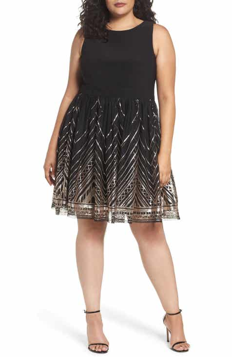 8250b07dd6fa2 Vince Camuto Sequin Fit   Flare Cocktail Dress (Plus Size)