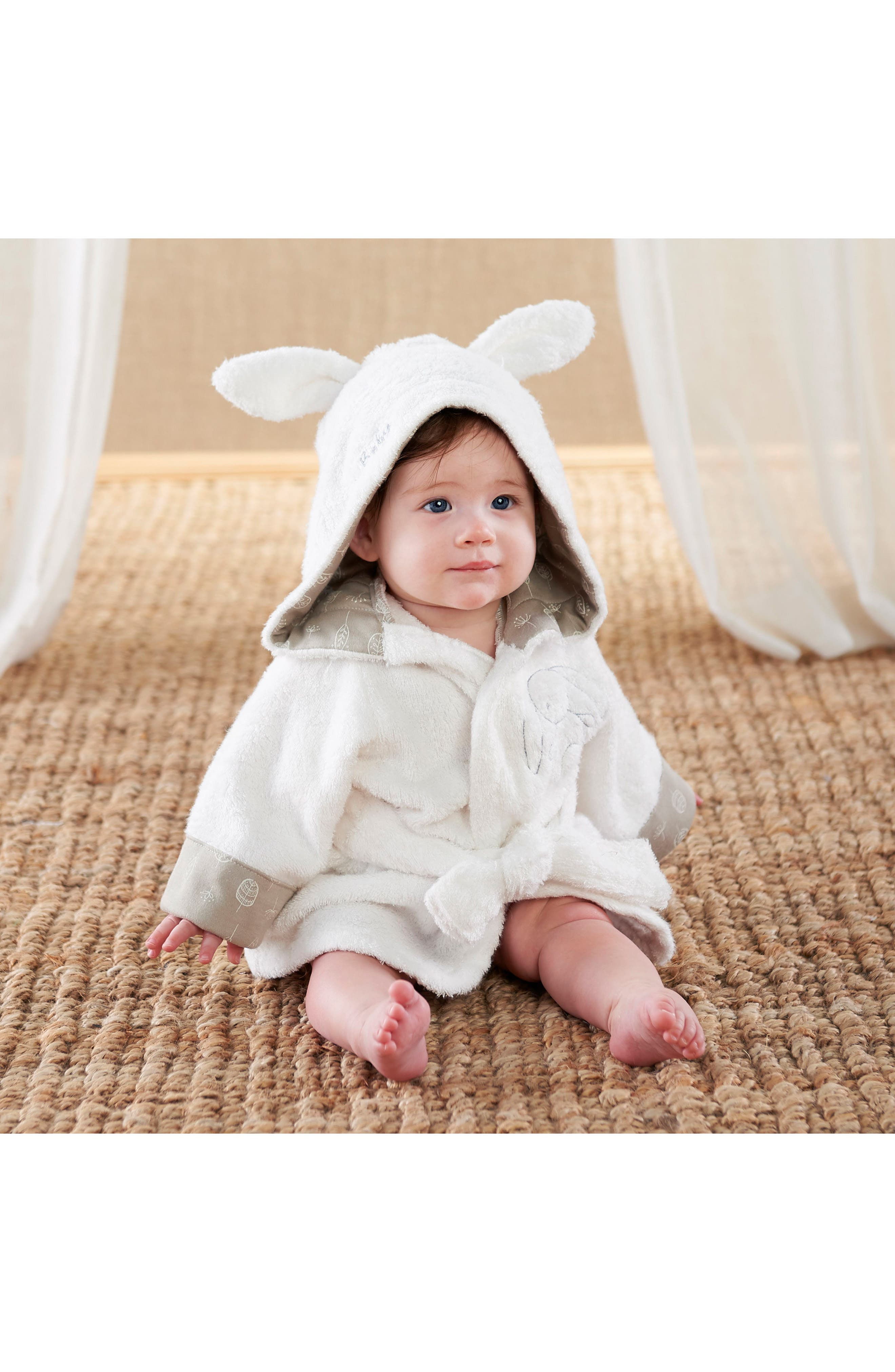 Nature Baby Bunny Bathrobe,                             Alternate thumbnail 2, color,                             White, Beige And Grey
