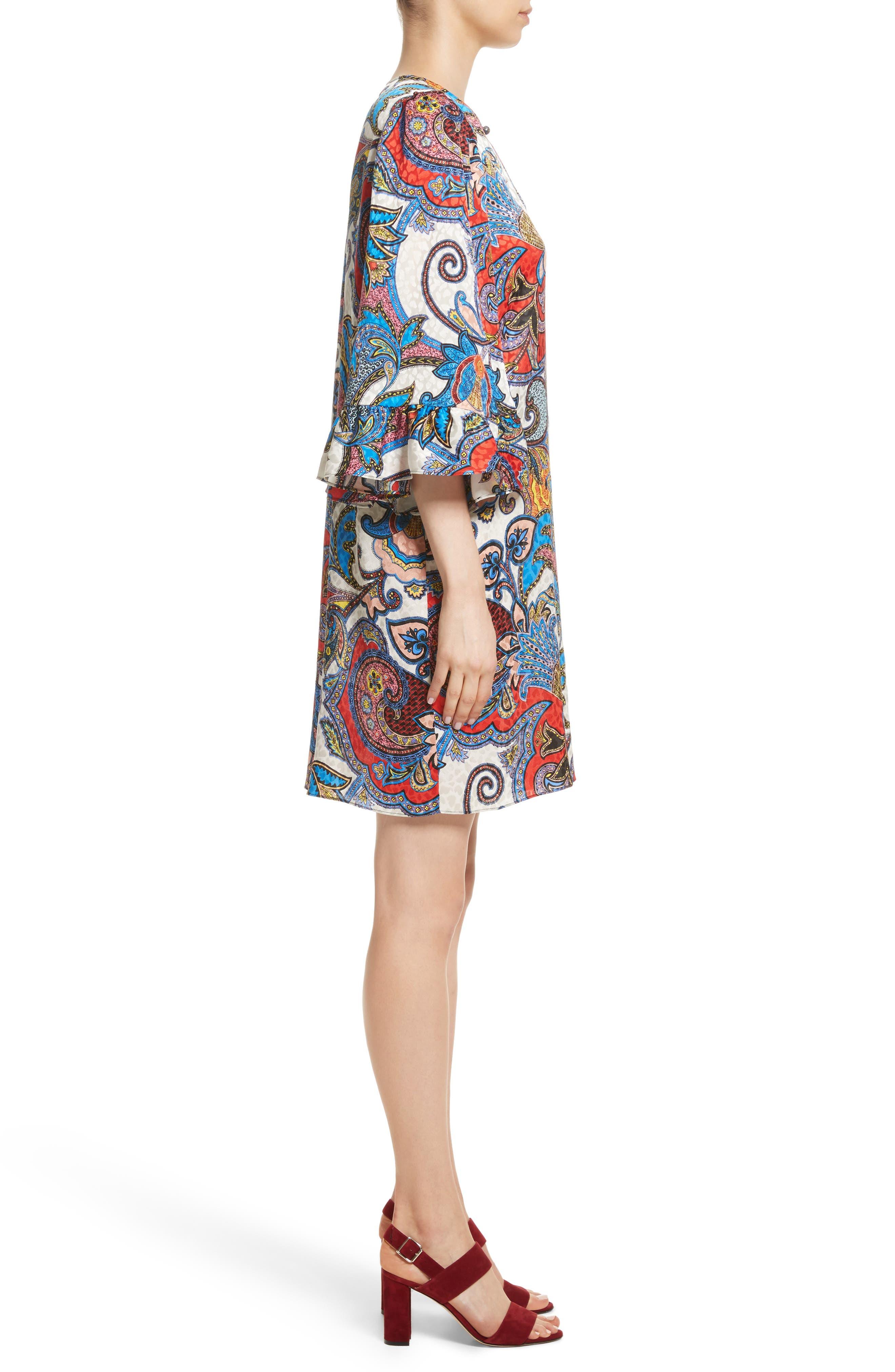 Paisley Print Silk Flutter Sleeve Dress,                             Alternate thumbnail 3, color,                             Multi