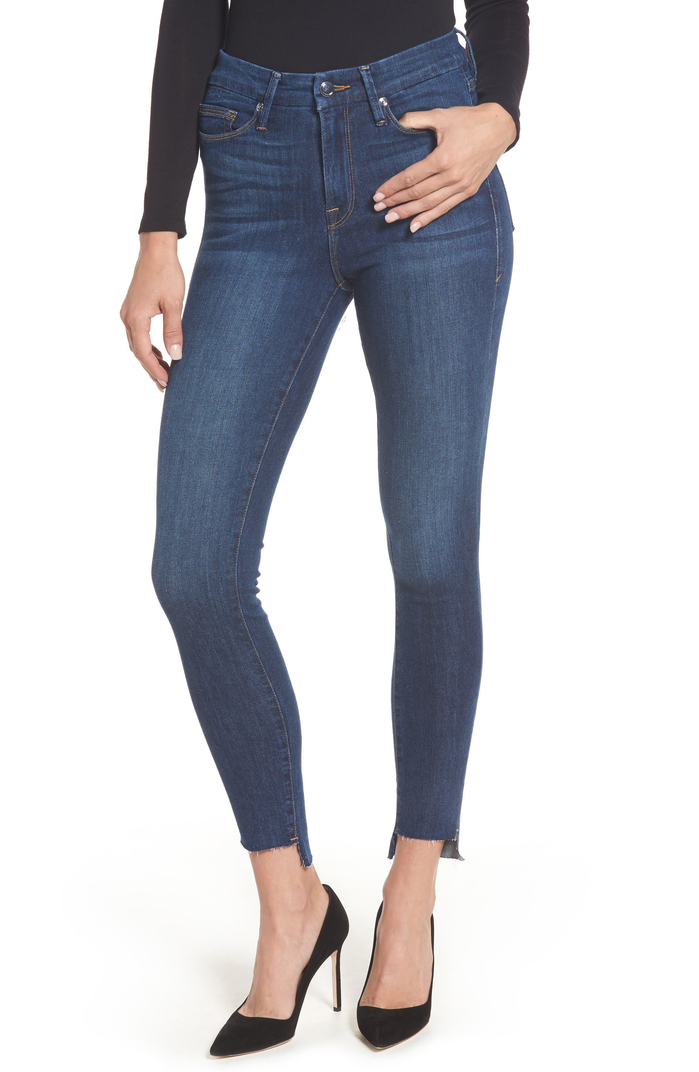 Alternate Image 1 Selected - Good American Good Legs High Waist Skinny Jeans (Blue 046) (Extended Sizes)