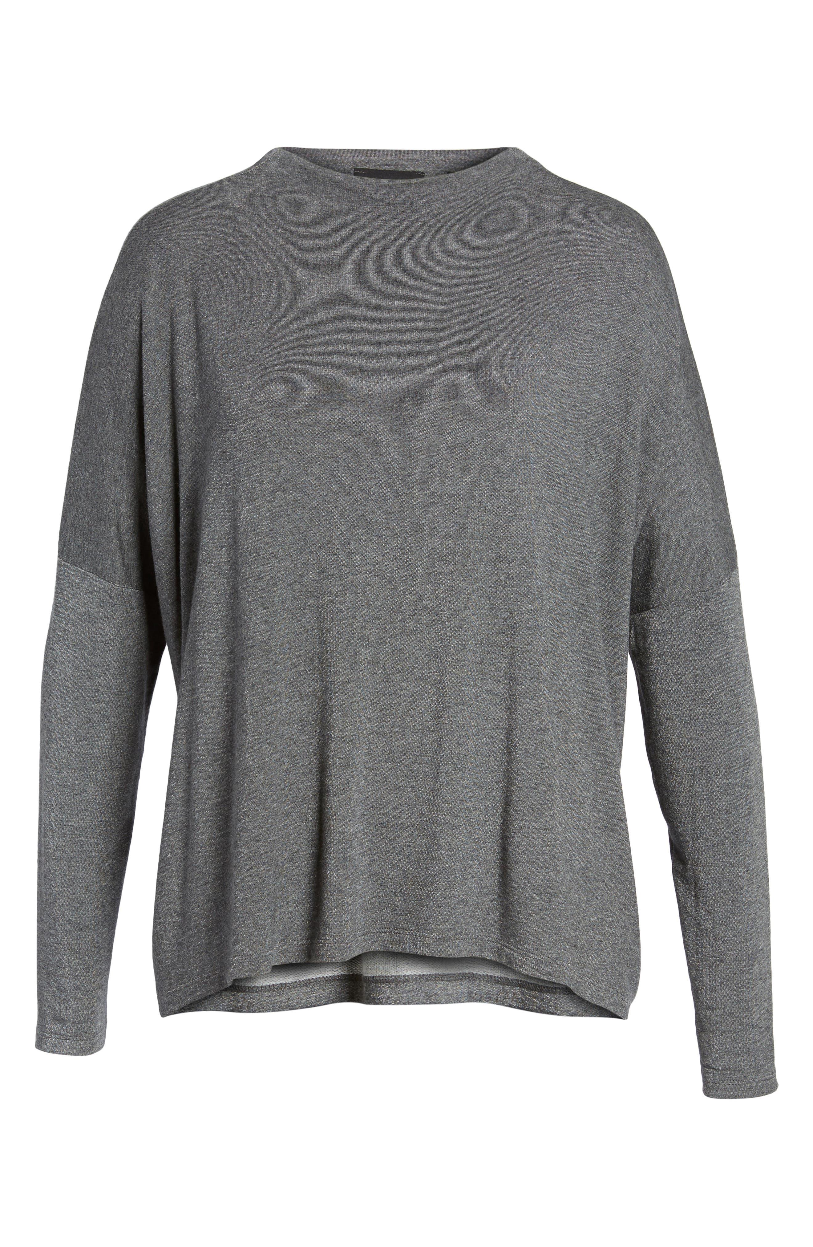 High Neck Sweatshirt,                         Main,                         color, Charcoal Mix
