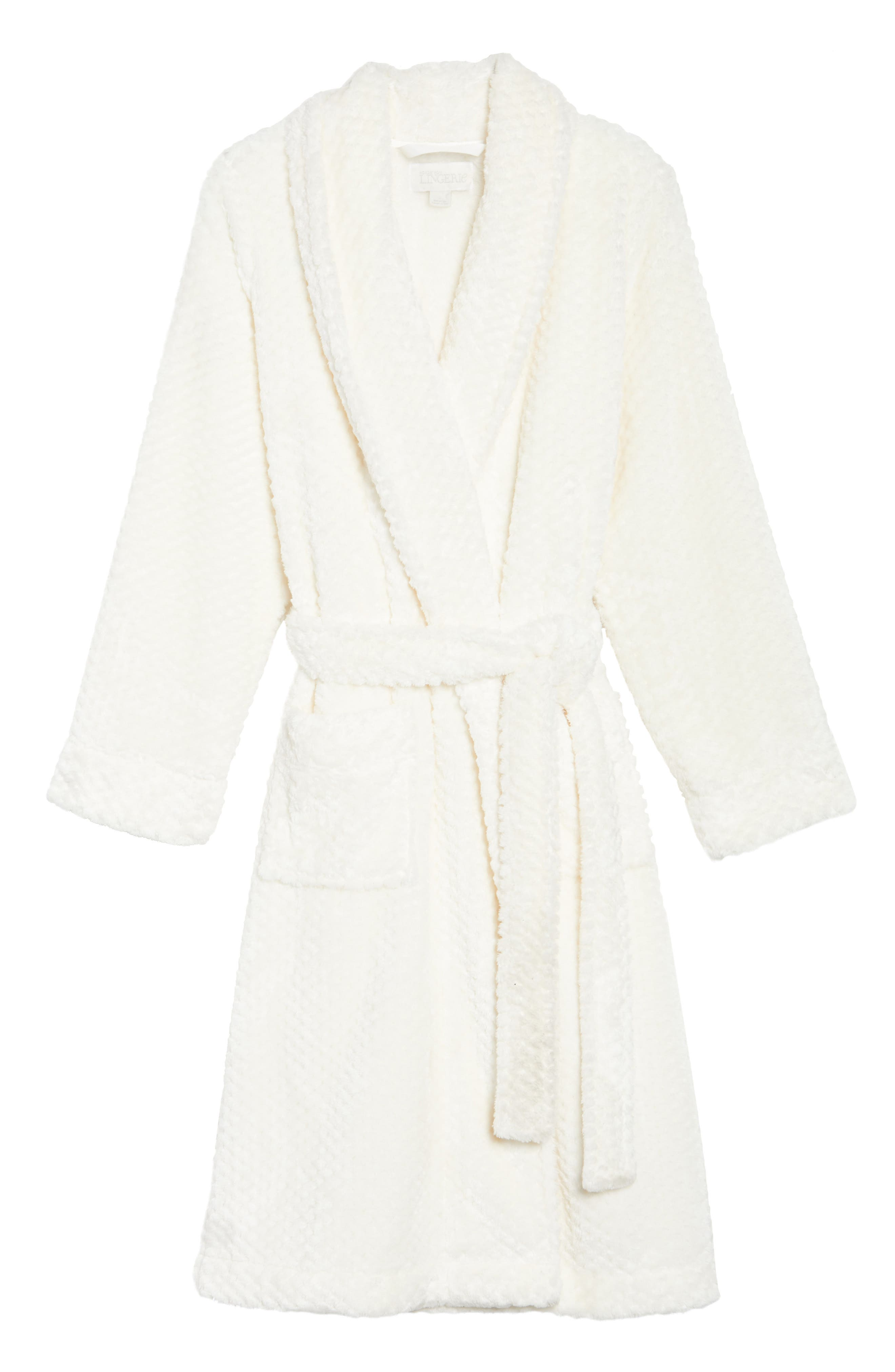 Nordstrom So Soft Plush Robe,                             Alternate thumbnail 4, color,                             Ivory Egret