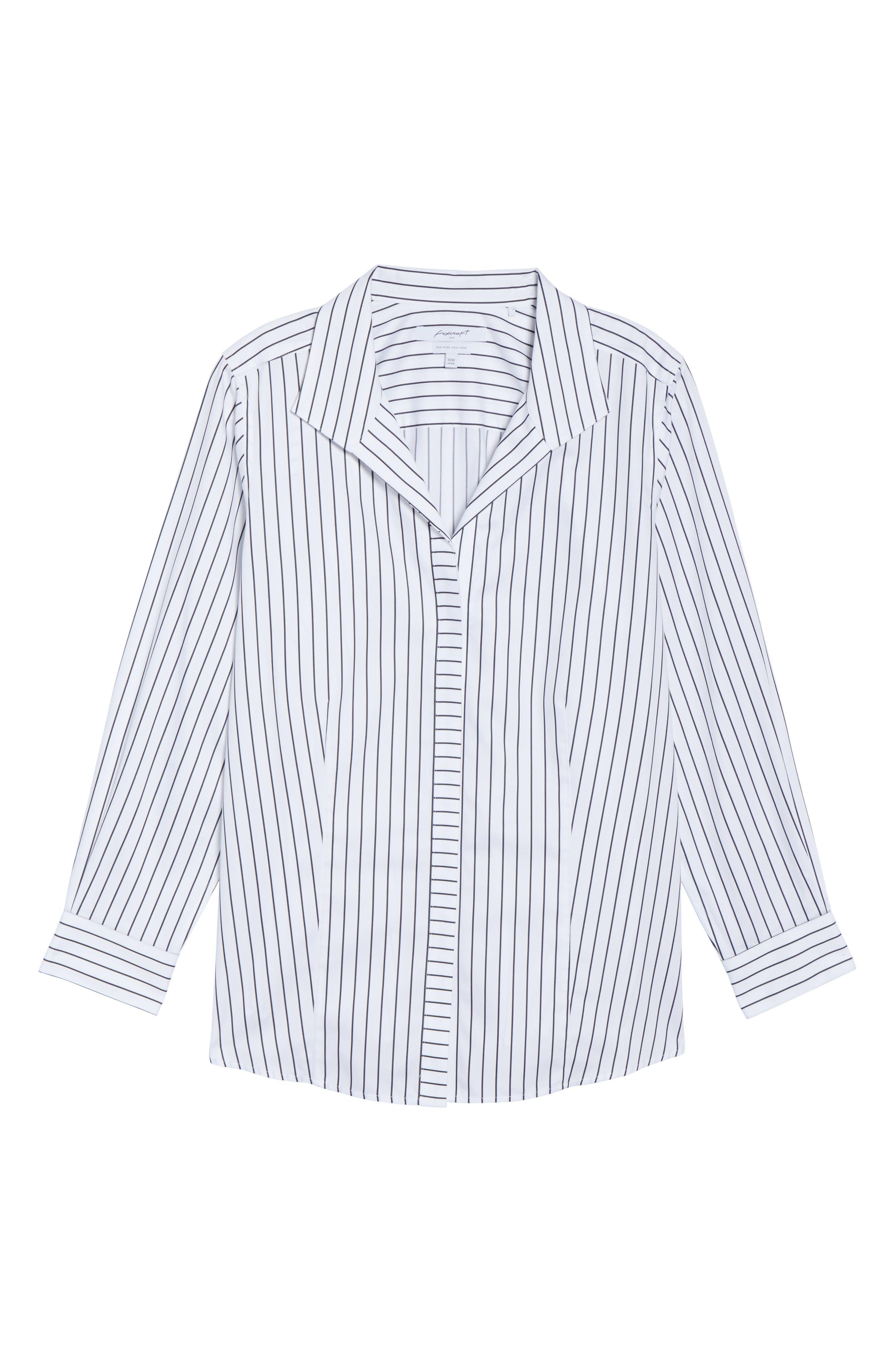 Alternate Image 5  - Foxcroft Annie Holiday Stripe Shirt (Plus Size)