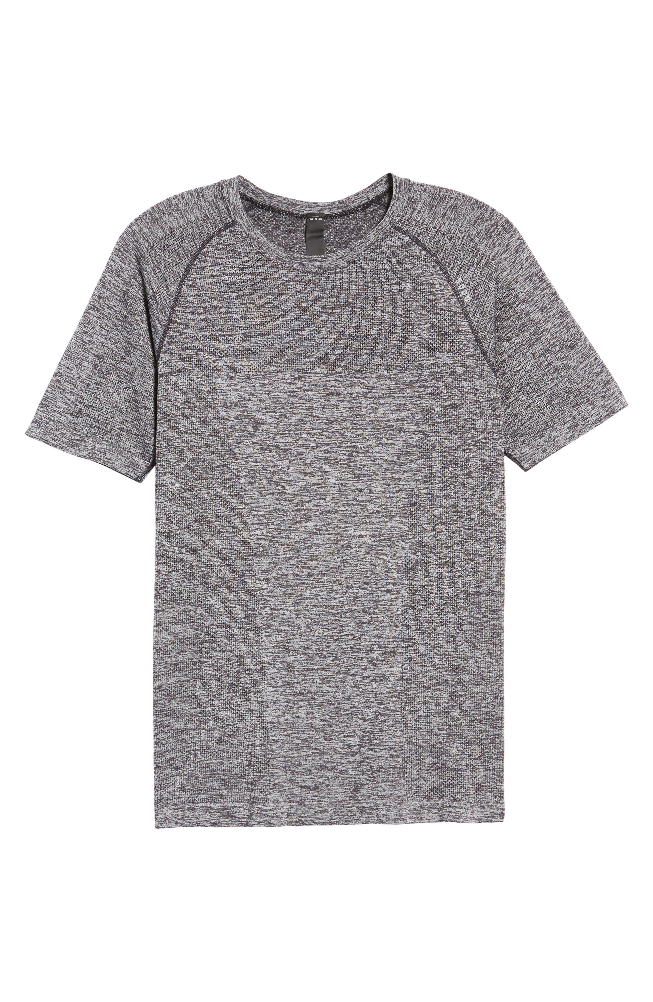 Seamless Crewneck Performance T-Shirt,                             Alternate thumbnail 6, color,                             Heather Black/ Black