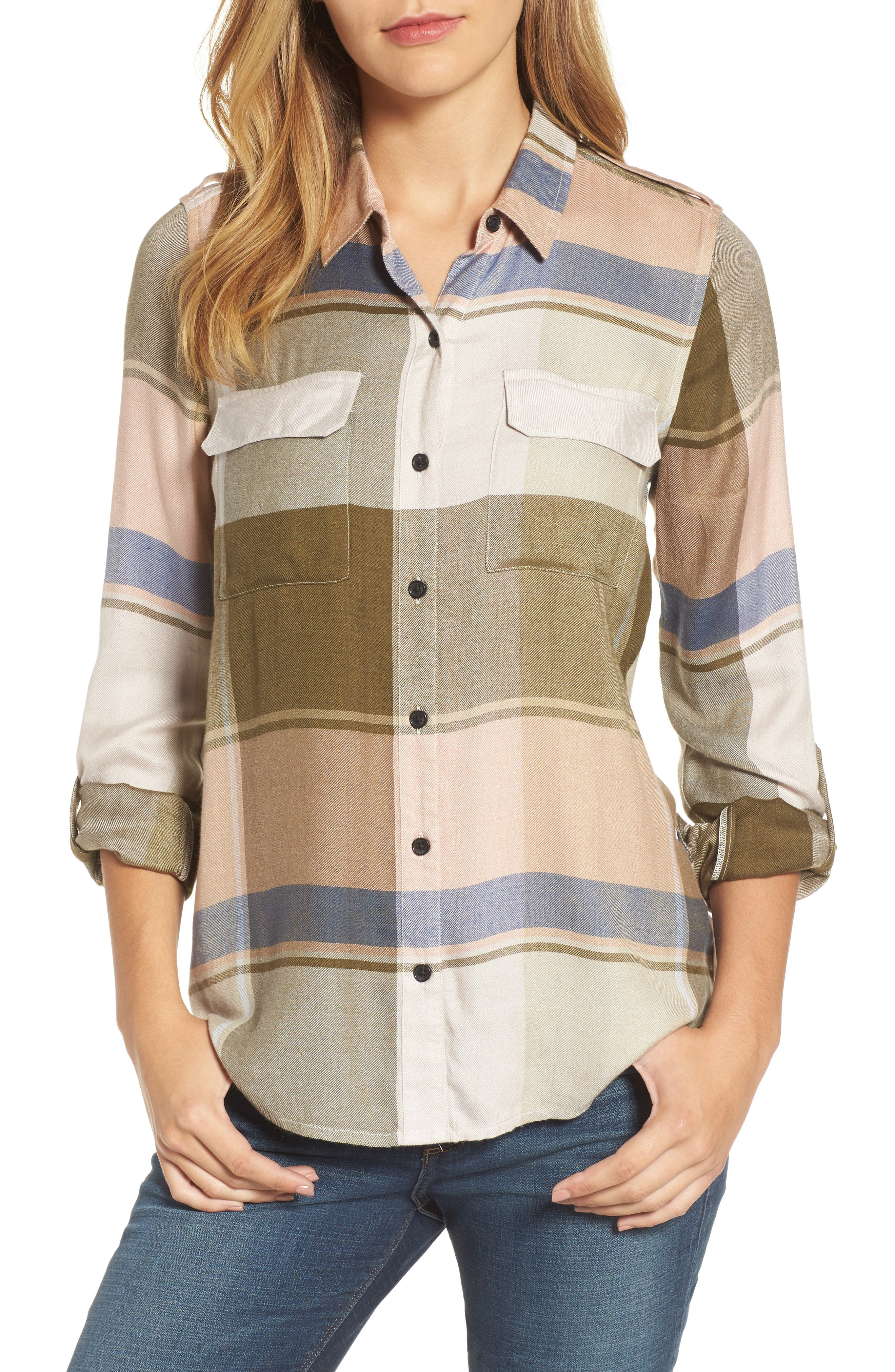 Alternate Image 1 Selected - Lucky Brand Plaid Roll Sleeve Shirt