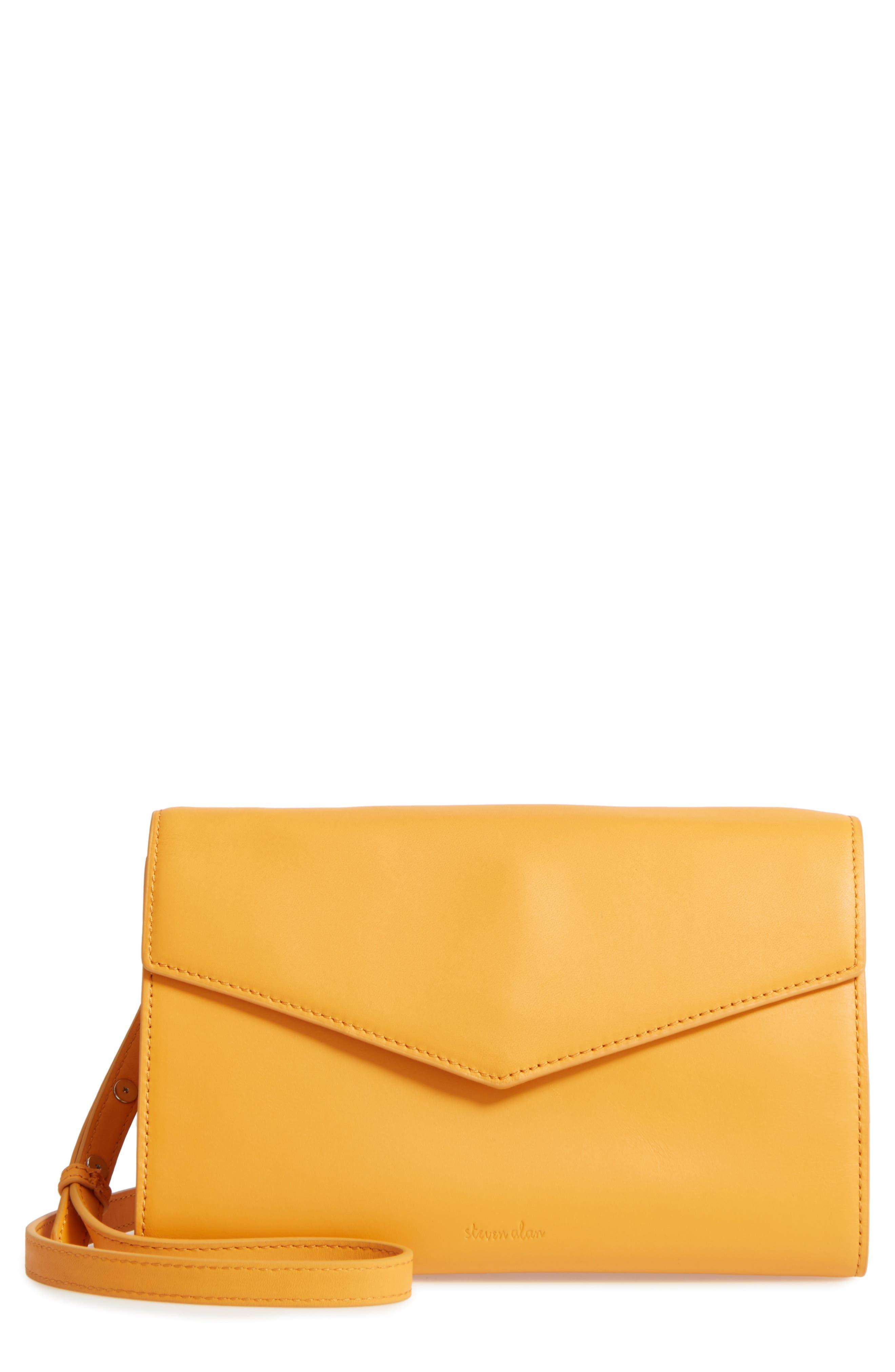 Easton Leather Envelope Crossbody Bag,                         Main,                         color, Ochre