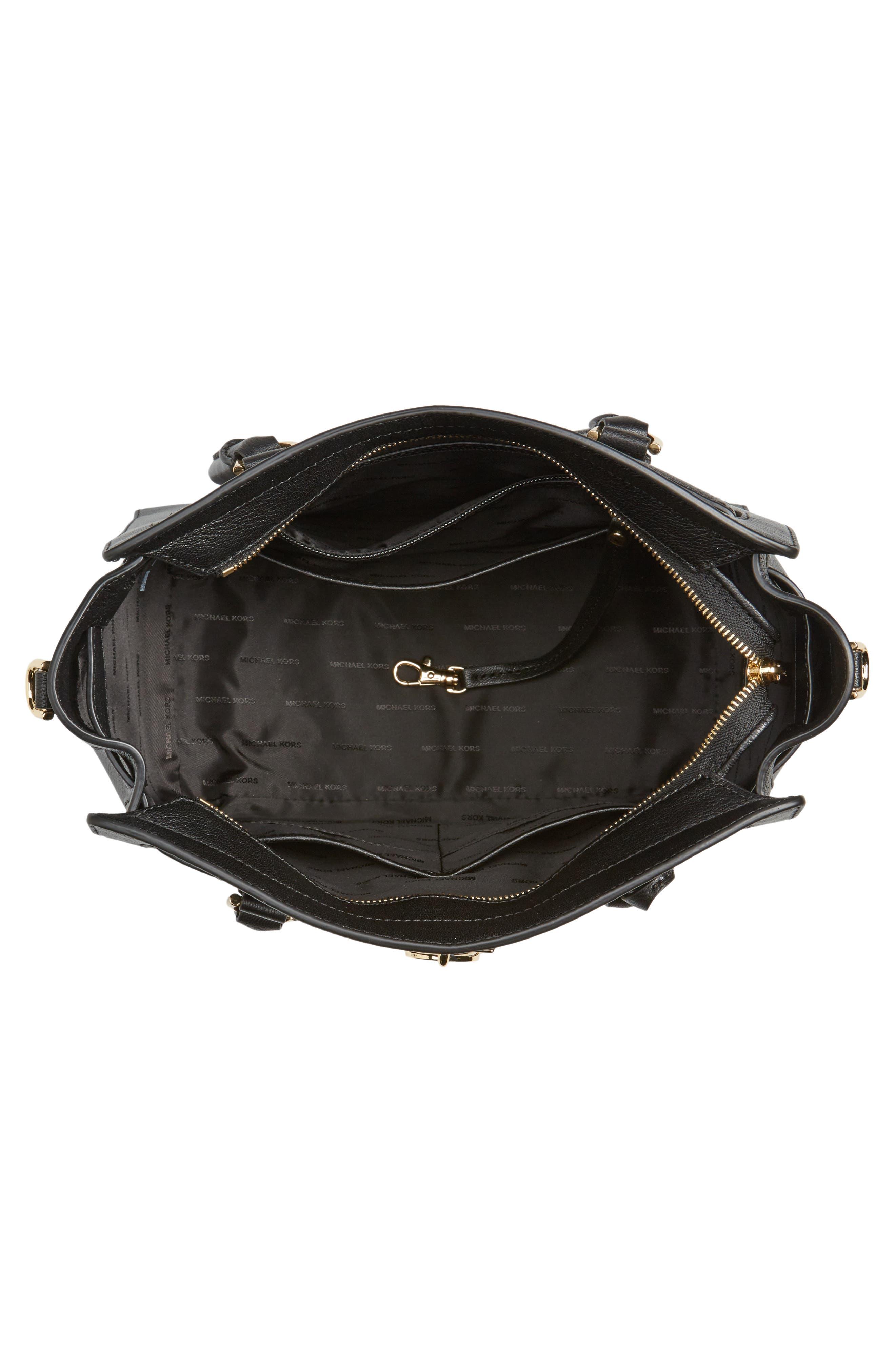 Large Hamilton Leather Tote,                             Alternate thumbnail 3, color,                             Black