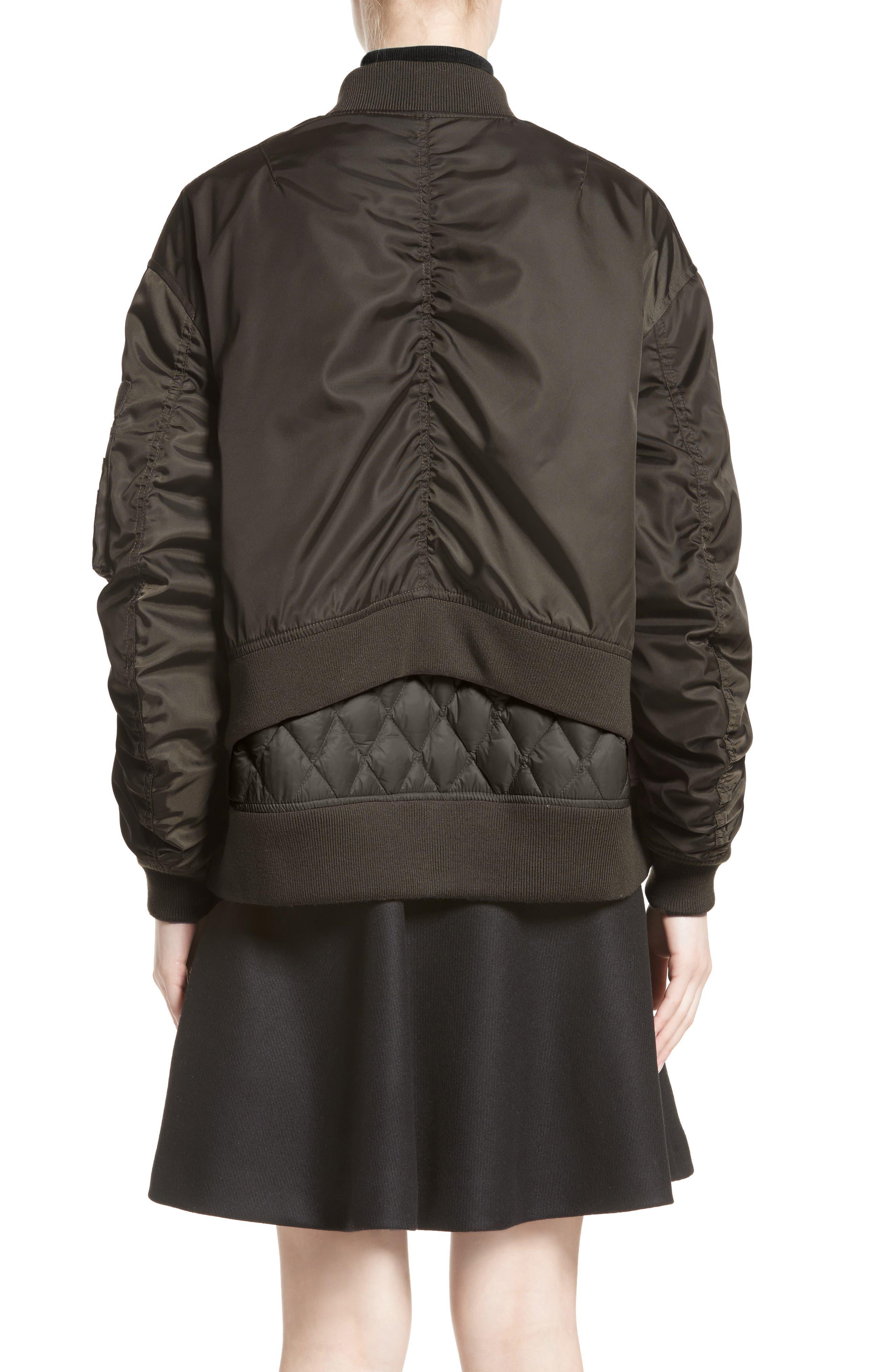 Aralia Layered Bomber Jacket,                             Alternate thumbnail 2, color,                             Olive/ Blush Lining