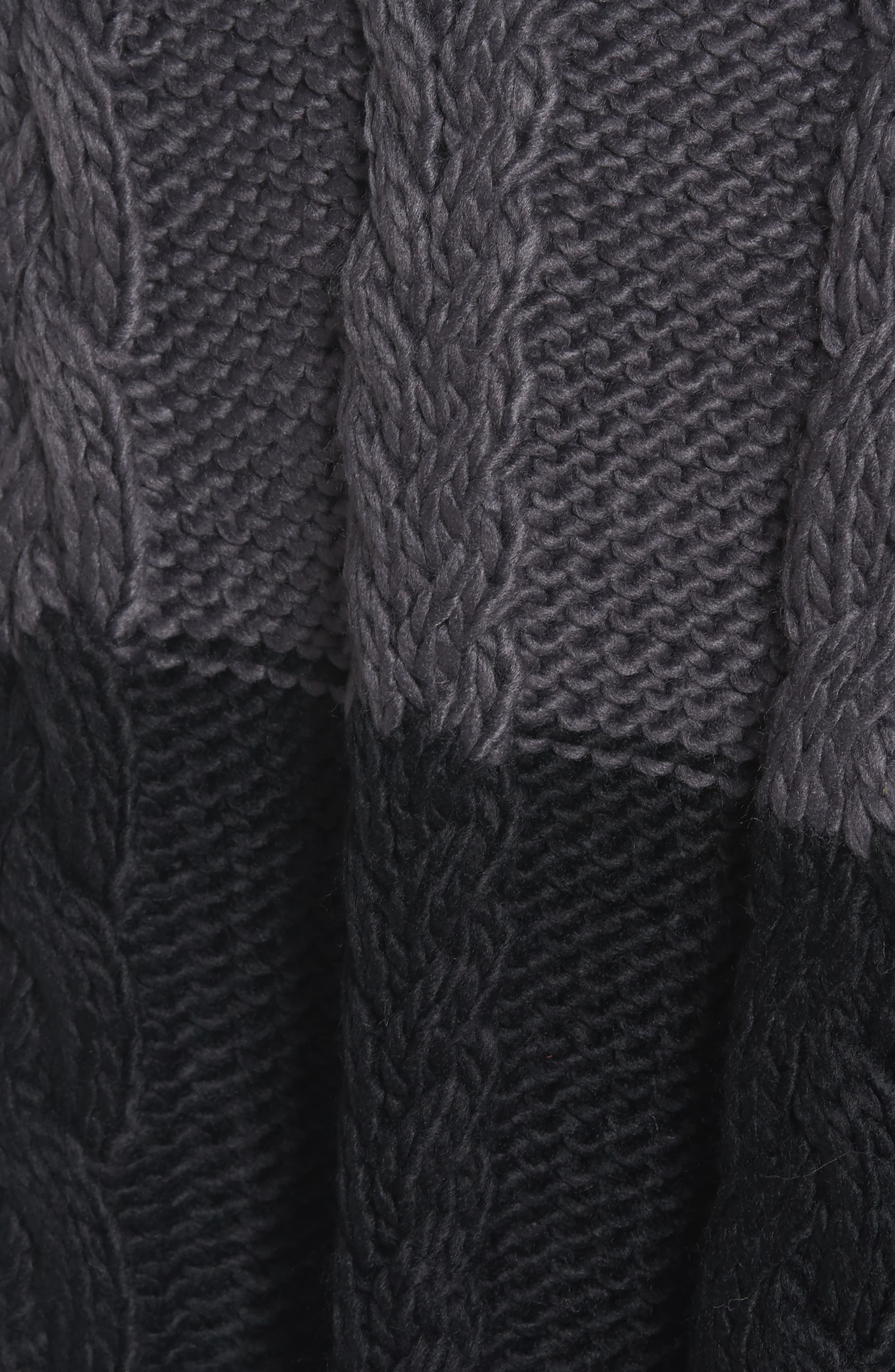 Cable Knit Poncho,                             Alternate thumbnail 5, color,                             Grey Night