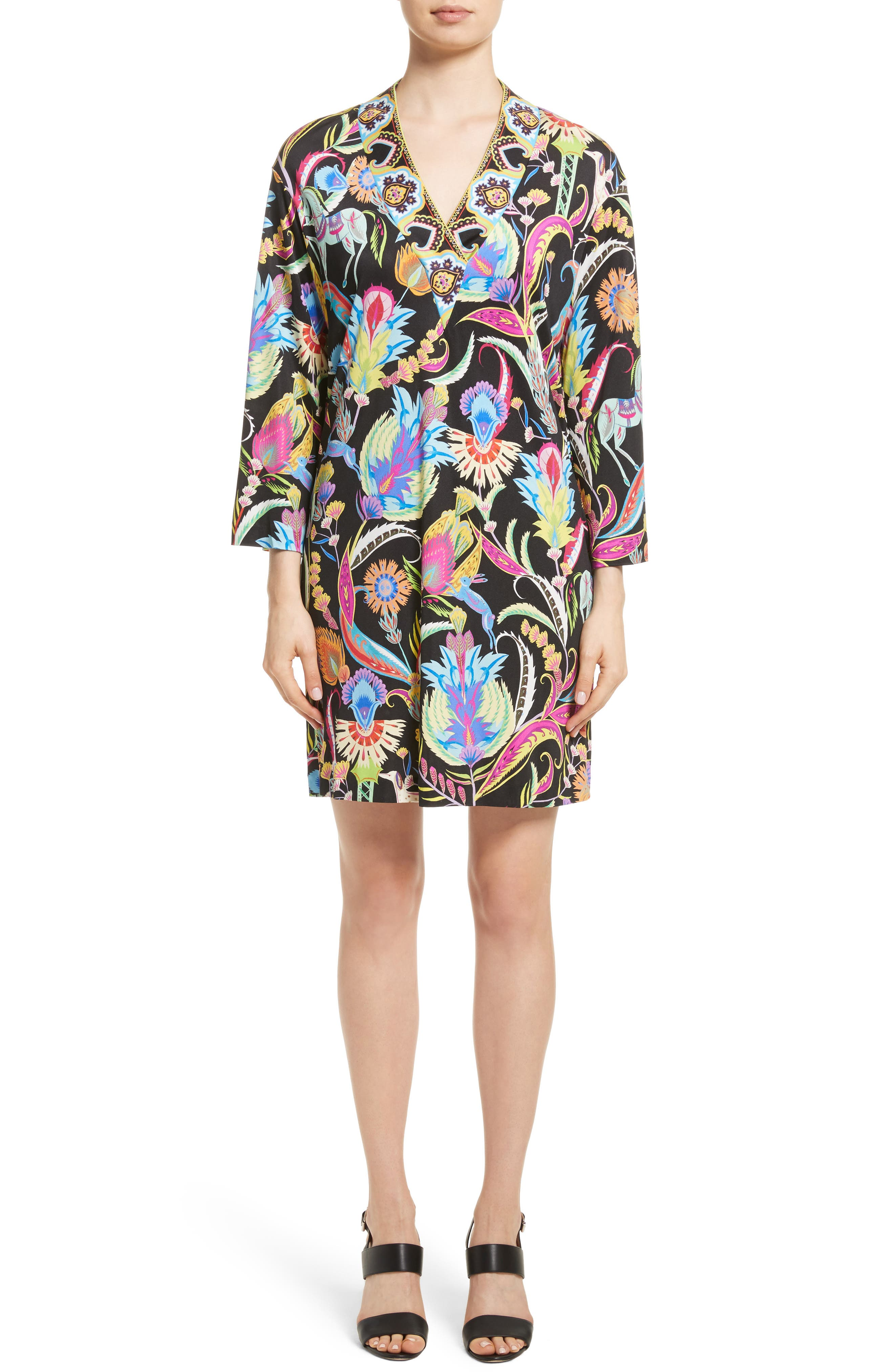Floral Print Silk Shift Dress,                         Main,                         color, Black