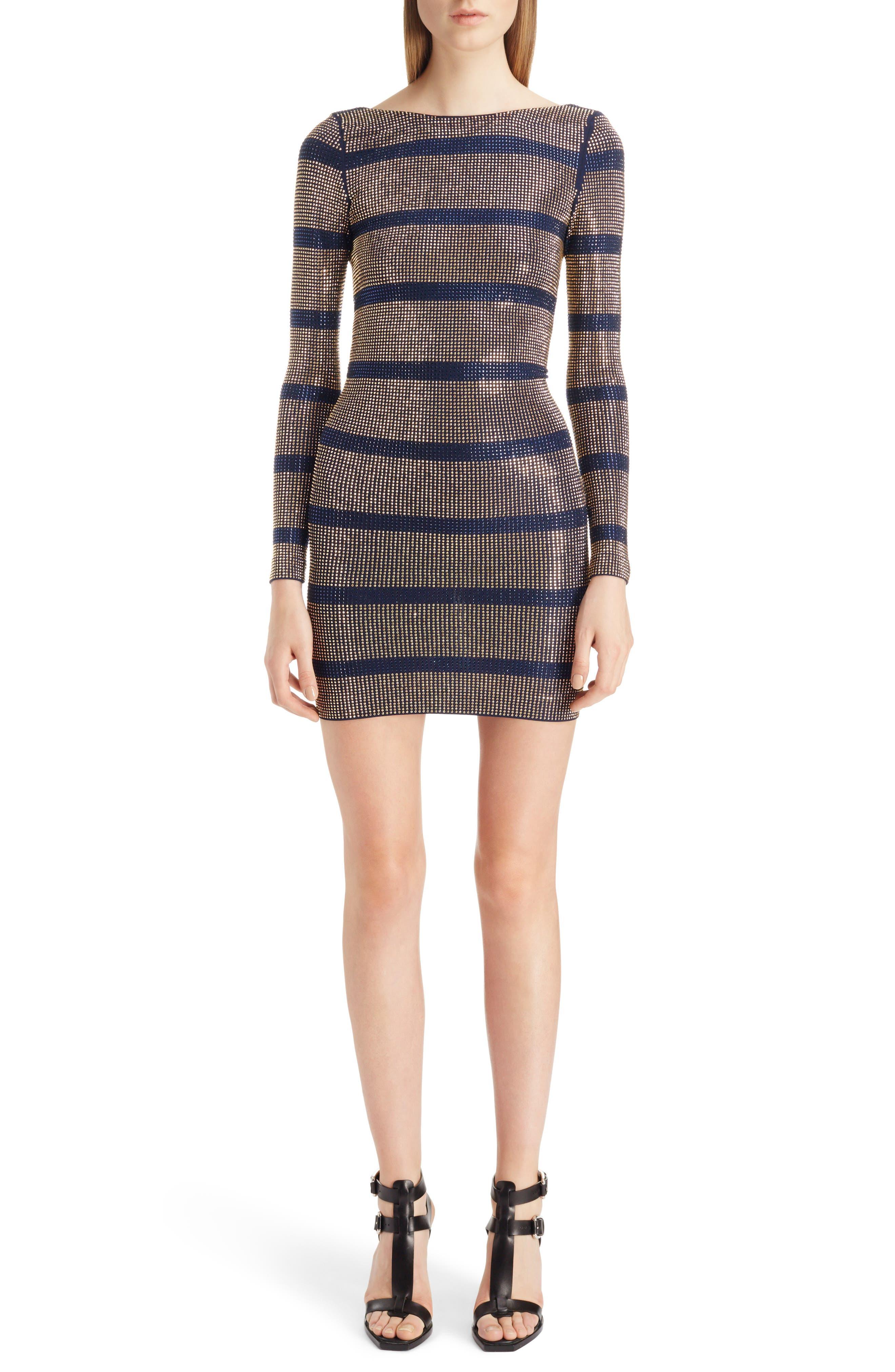 Embellished Stripe Minidress,                         Main,                         color, Navy Blue And Gold