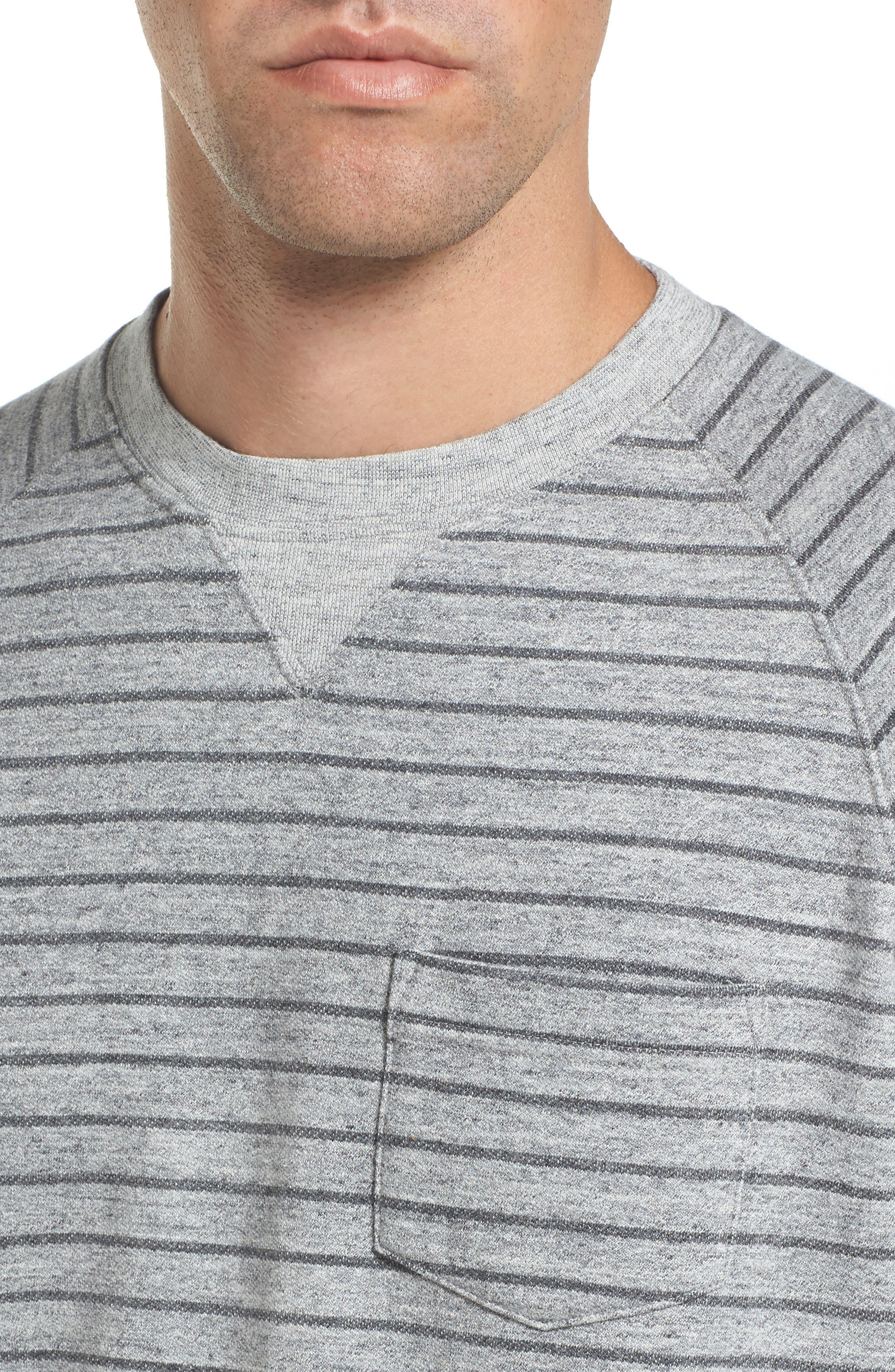 Palmer Modern Fit Athletic Stripe Sweatshirt,                             Alternate thumbnail 6, color,                             Gray Heather / Charcoal