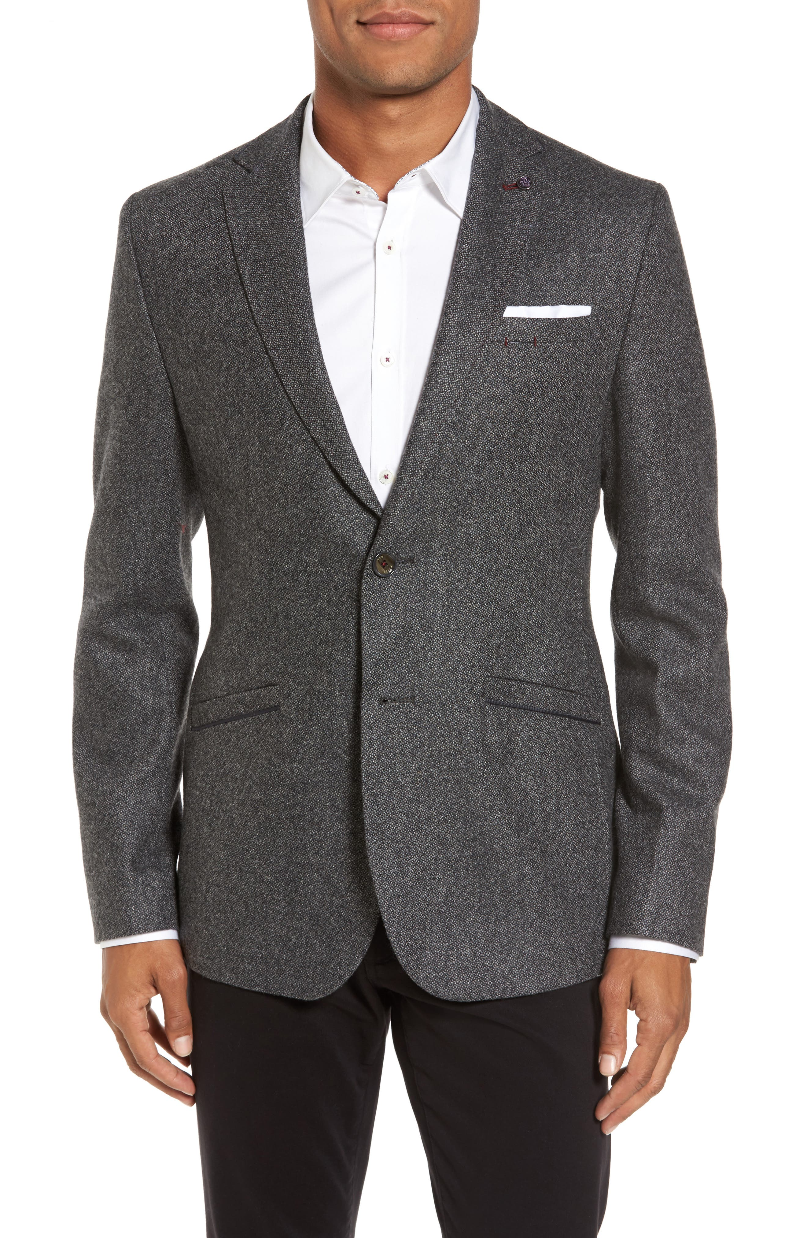 Modern Slim Fit Textured Blazer,                             Main thumbnail 1, color,                             Charcoal