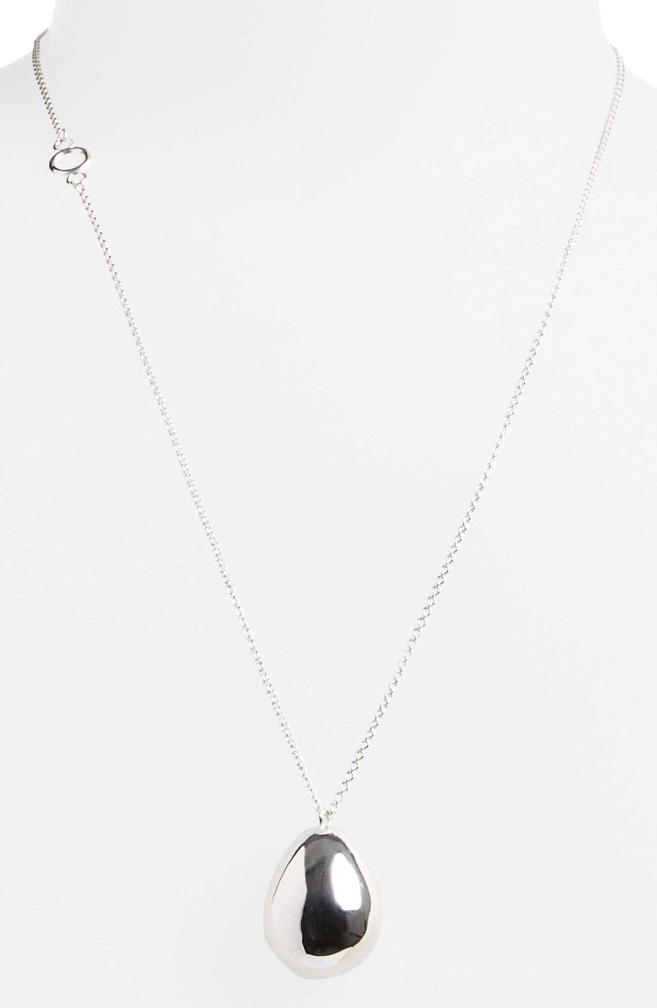 Alternate Image 2  - All Blues Quail Eggshell Half Silver Pendant Necklace