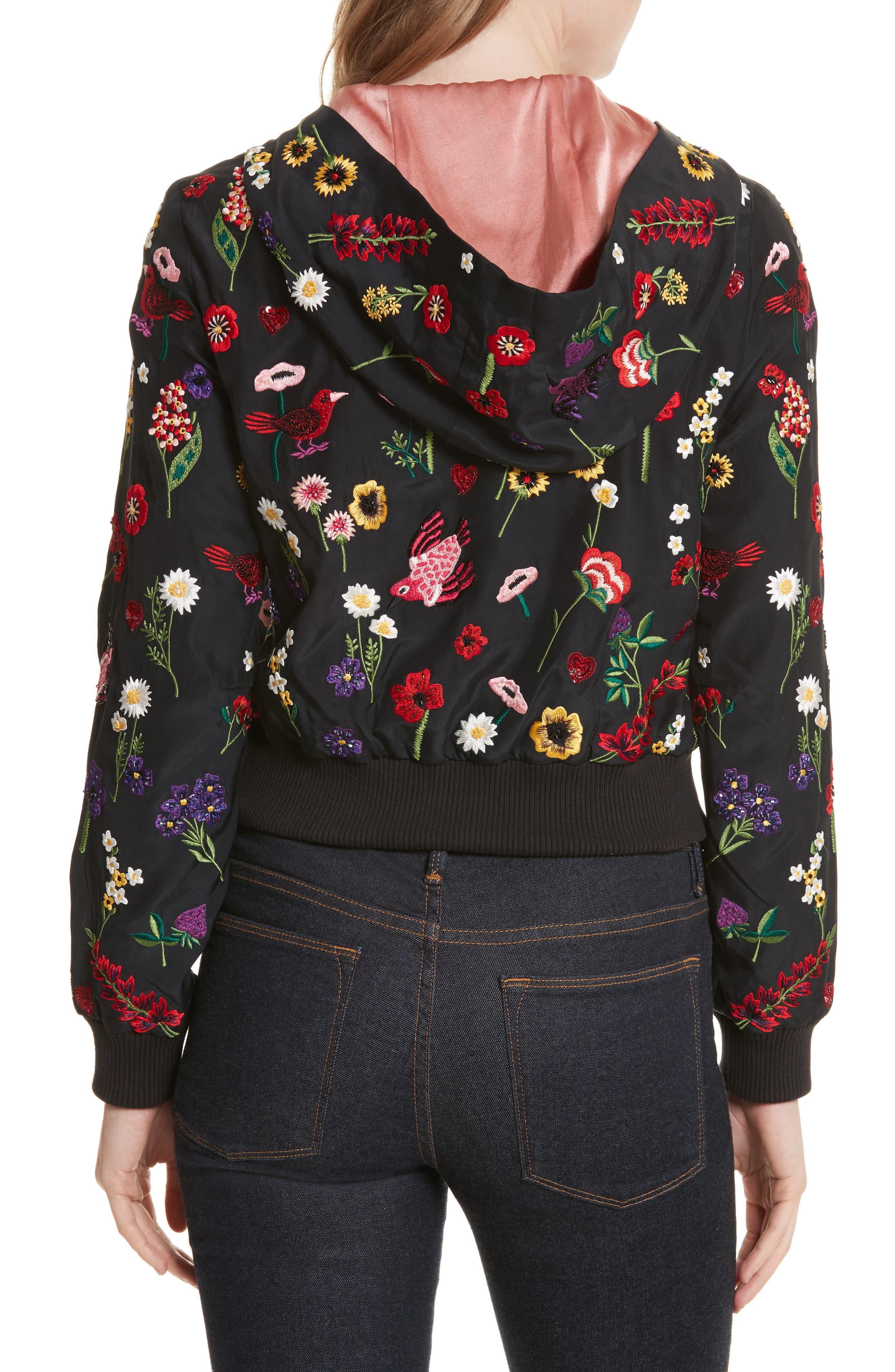 Alternate Image 2  - Alice + Olivia Lonnie Embroidered Hooded Silk Bomber Jacket