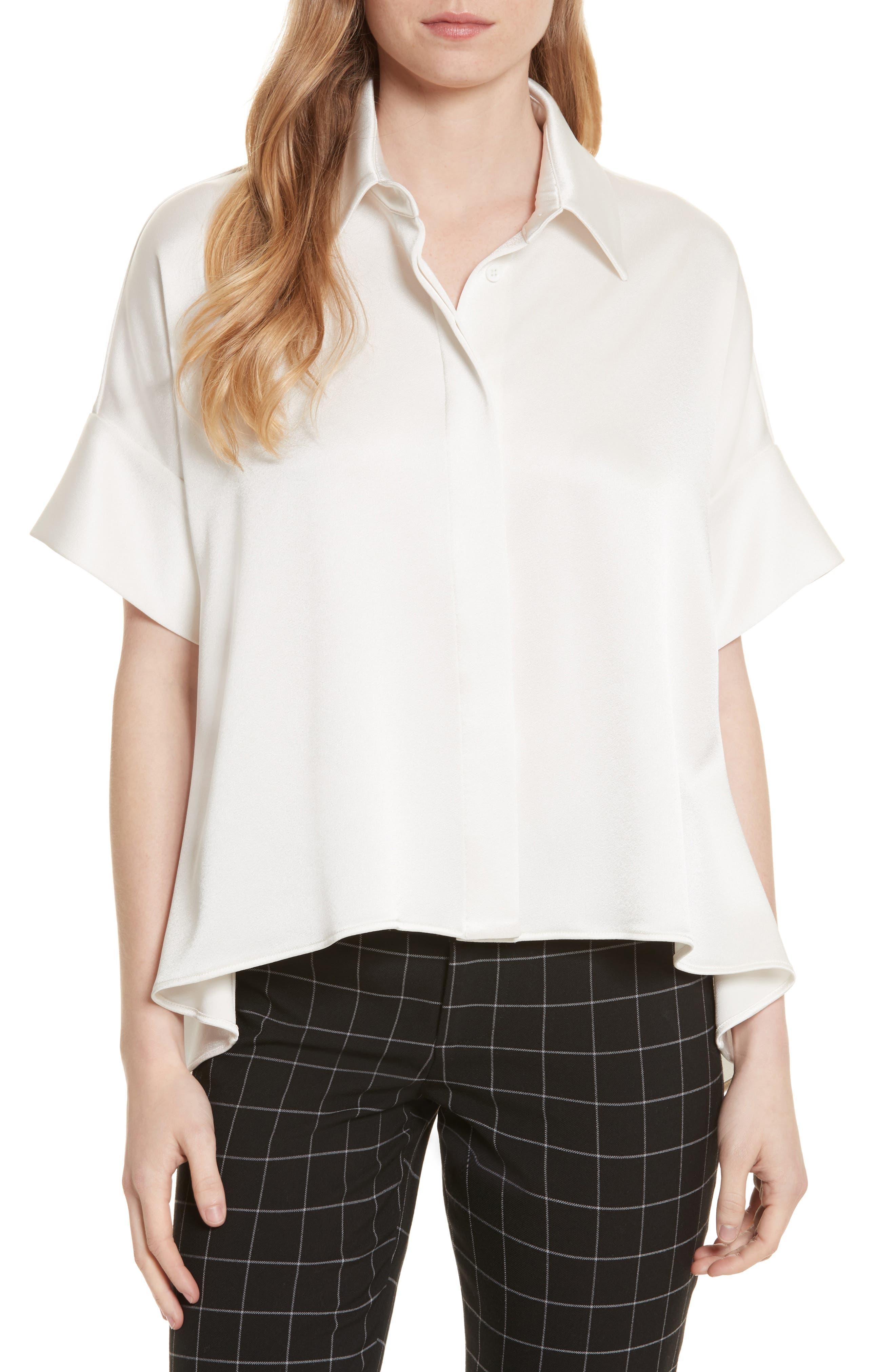 Edyth Drapey Button-Down Blouse,                         Main,                         color, Off White
