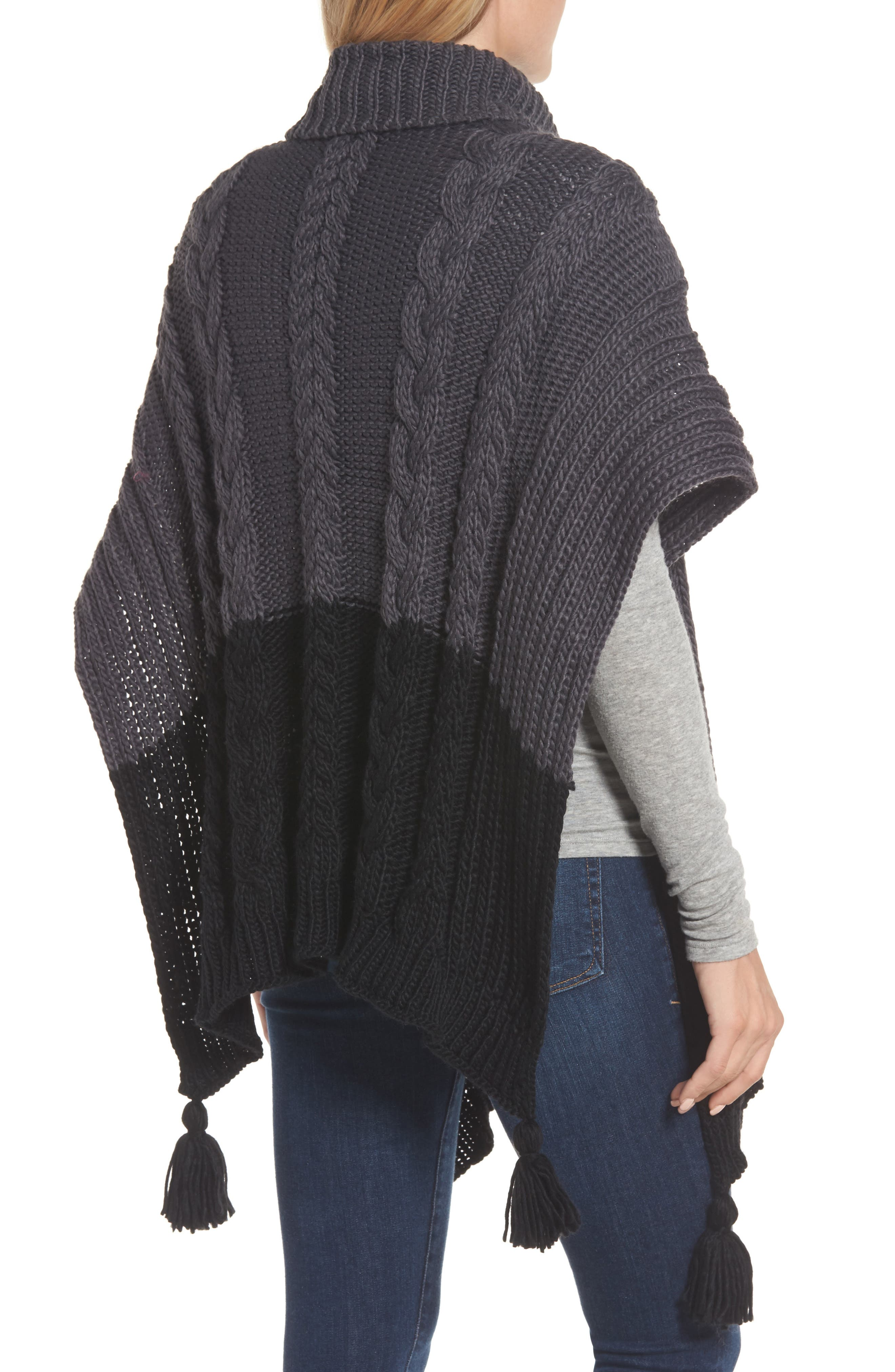 Cable Knit Poncho,                             Alternate thumbnail 2, color,                             Grey Night