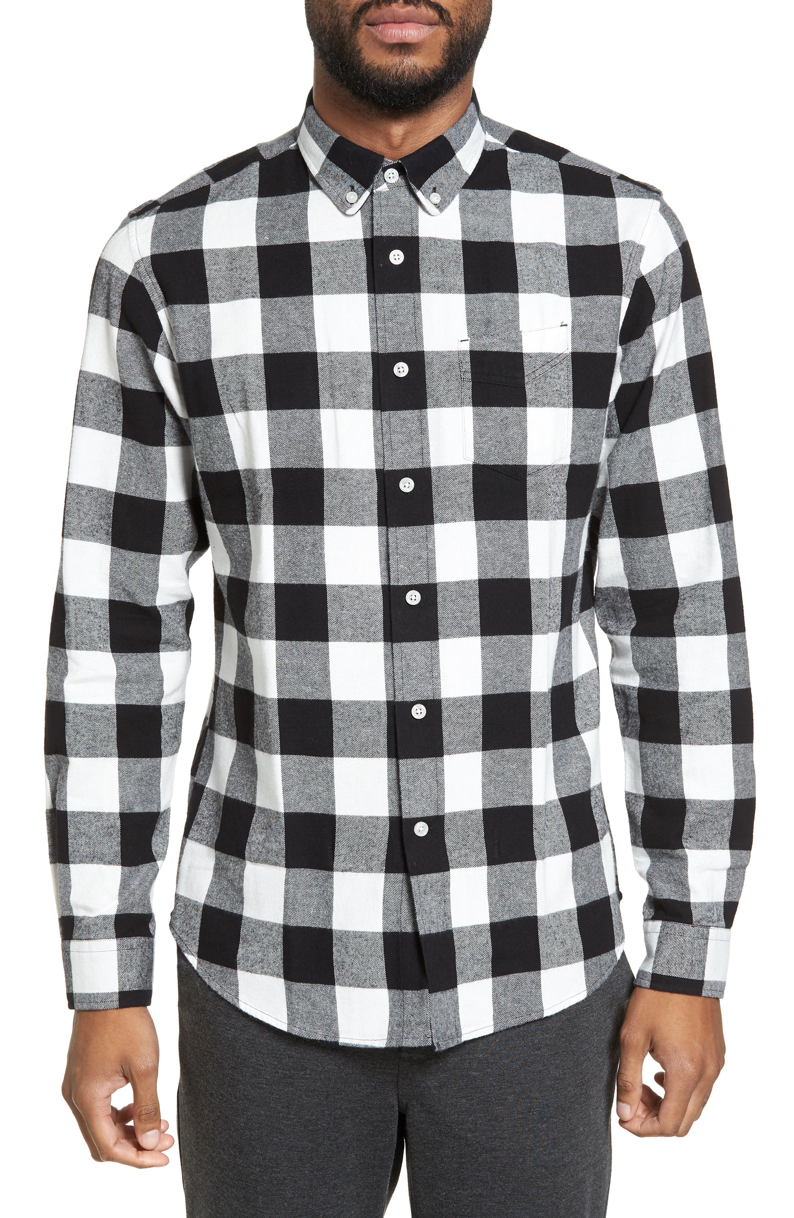 Trim Fit Buffalo Plaid Flannel Sport Shirt,                             Main thumbnail 1, color,                             Black/ White Buffalo Plaid