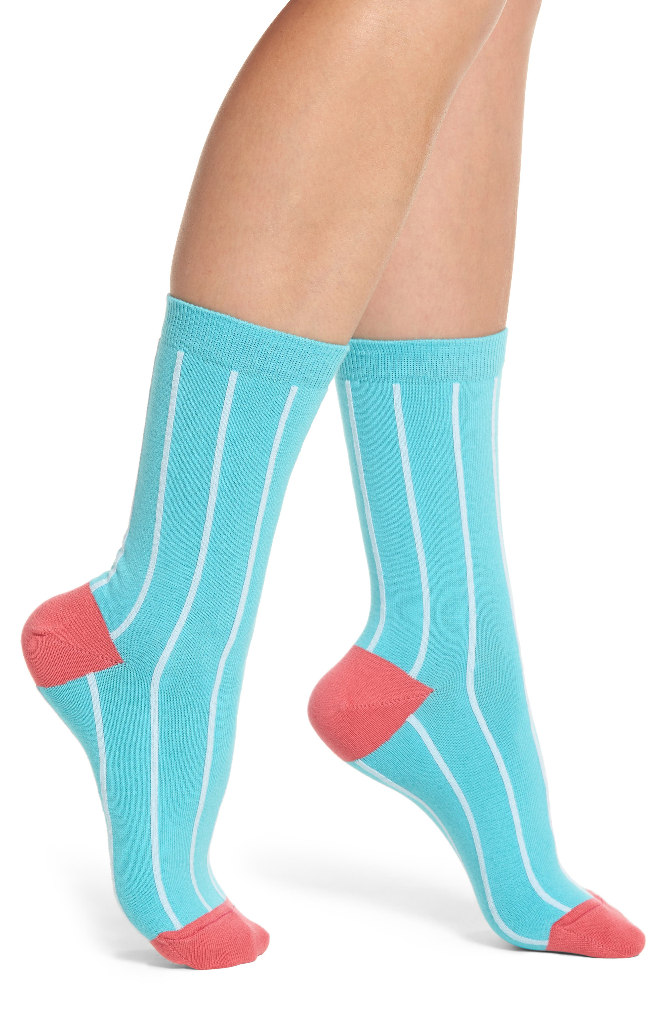 Edna Pinstripe Crew Socks,                         Main,                         color, Teal