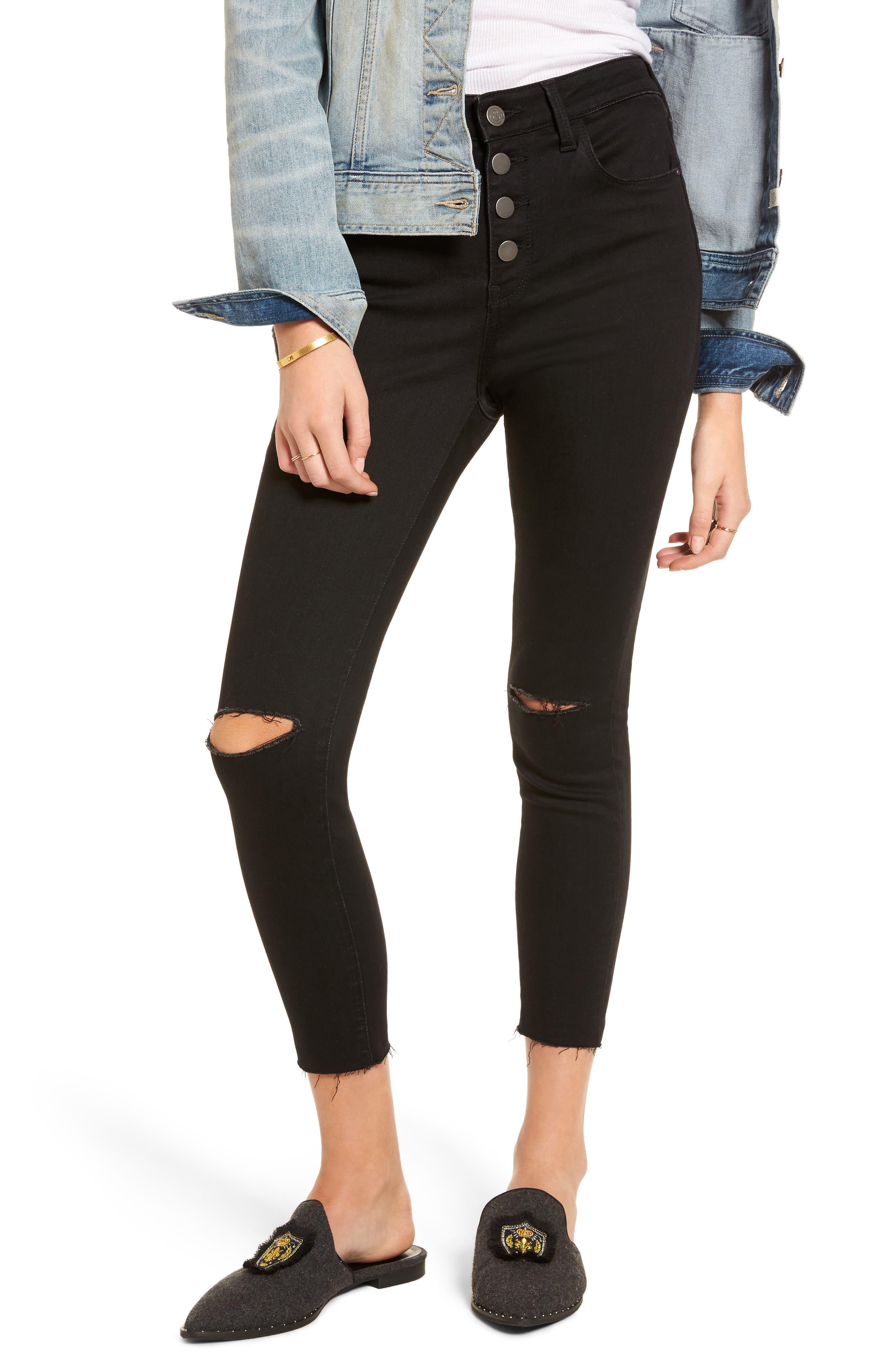 Main Image - Treasure & Bond High Waist Skinny Jeans (Midnight Dark Destroy)