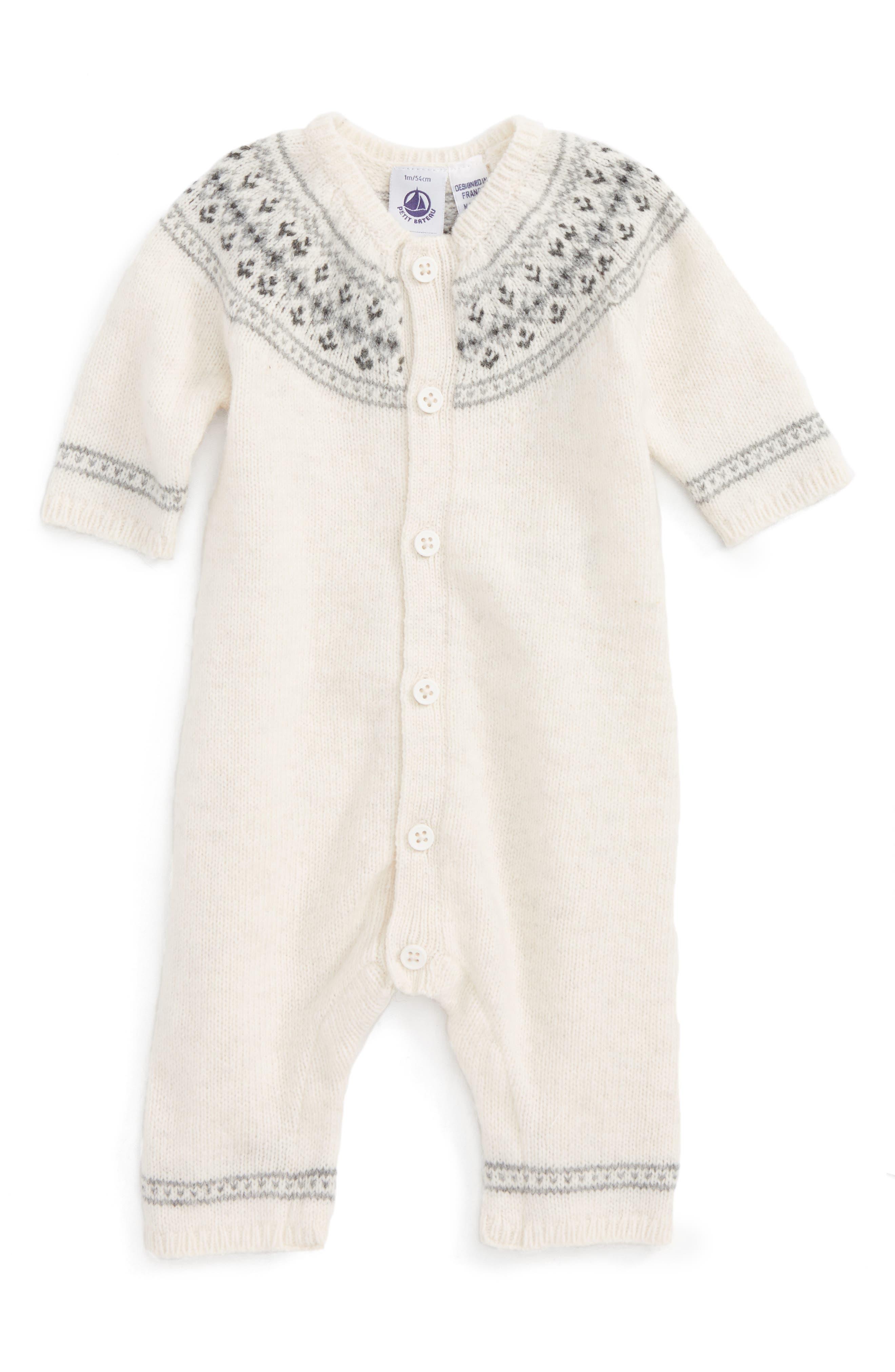Main Image - Petit Bateau Knit Romper (Baby)